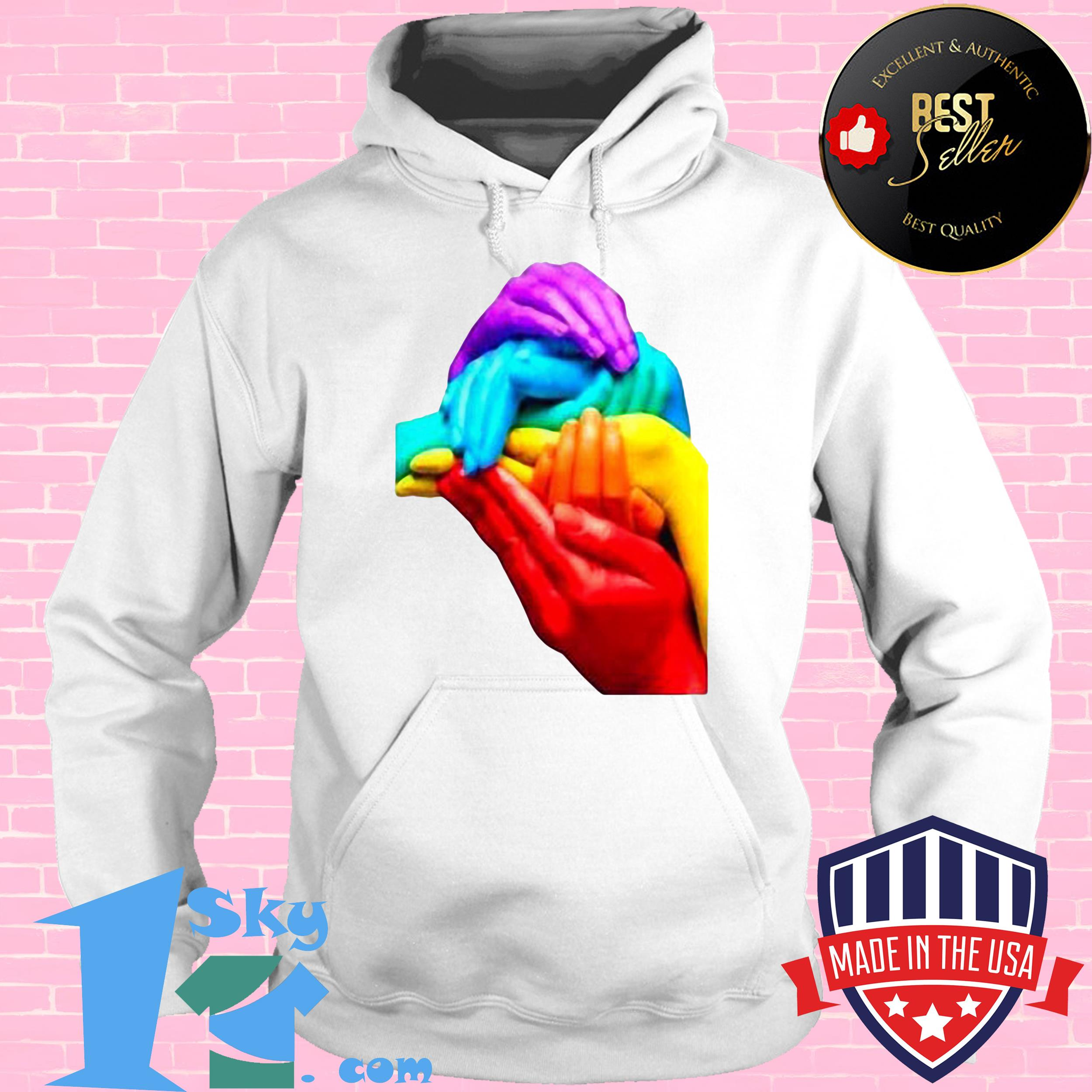 hands colourful gay pride lgbt london soho cool rainbow retro hoodie - Hands Colourful Gay Pride LGBT London Soho Cool Rainbow Retro Shirt