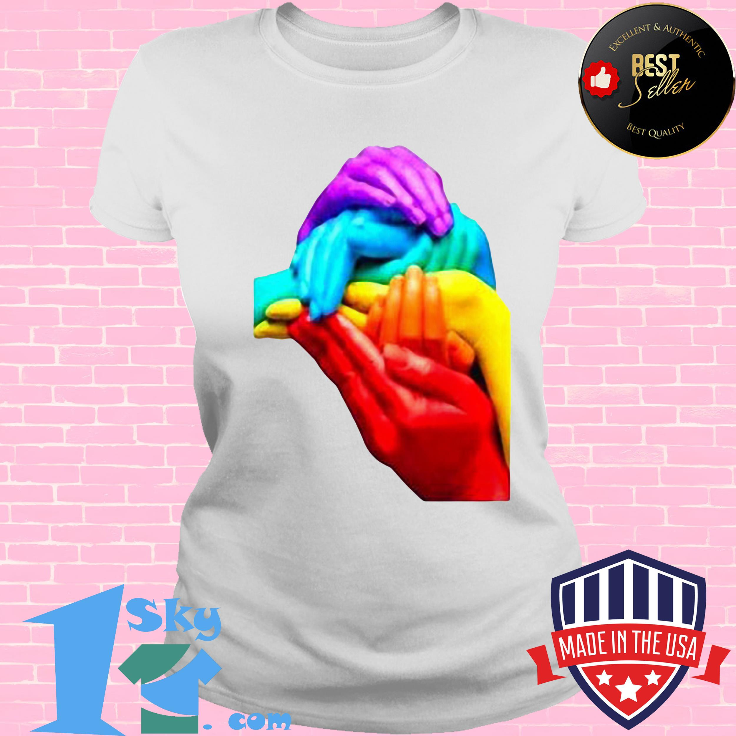 hands colourful gay pride lgbt london soho cool rainbow retro ladies tee - Hands Colourful Gay Pride LGBT London Soho Cool Rainbow Retro Shirt
