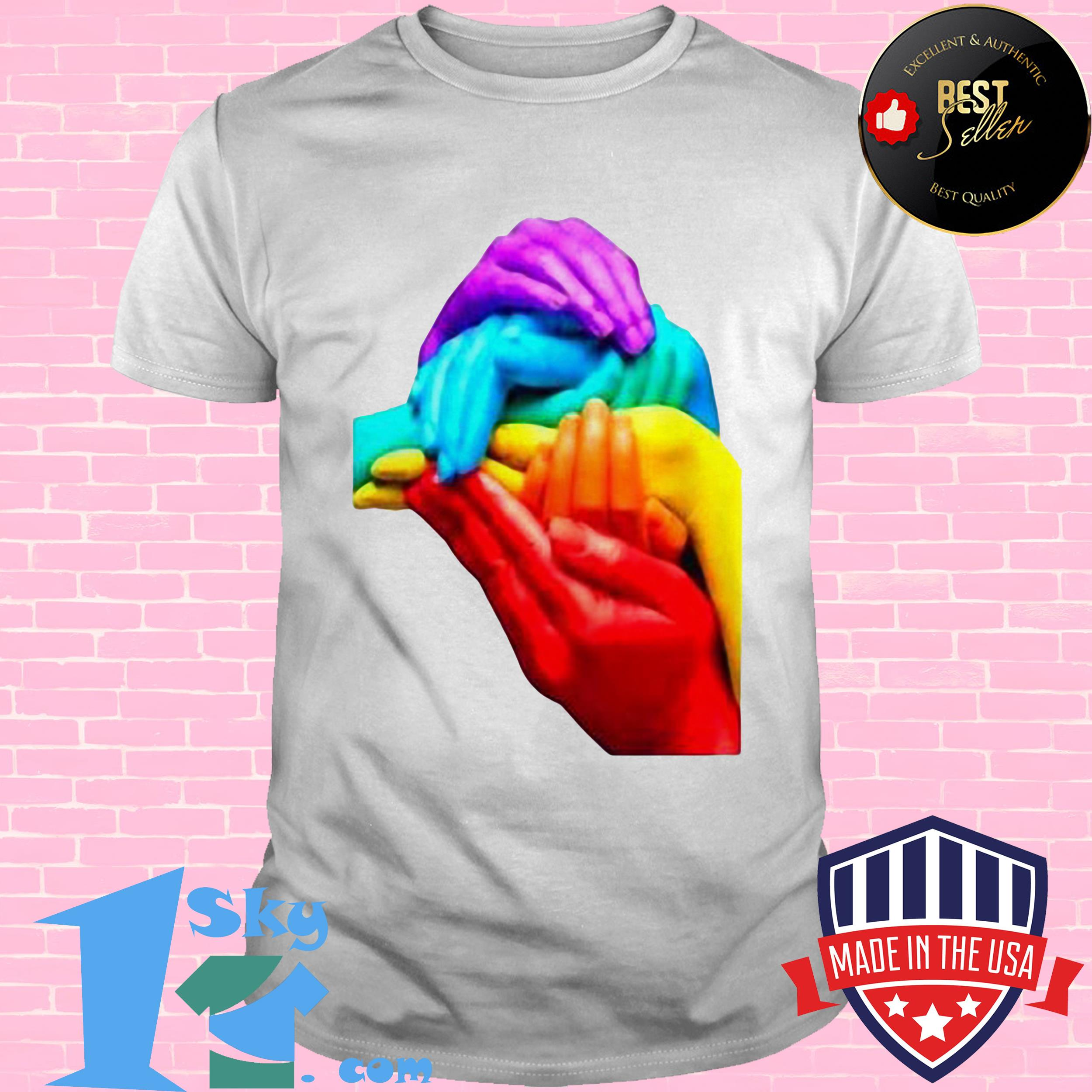 hands colourful gay pride lgbt london soho cool rainbow retro shirt - Hands Colourful Gay Pride LGBT London Soho Cool Rainbow Retro Shirt