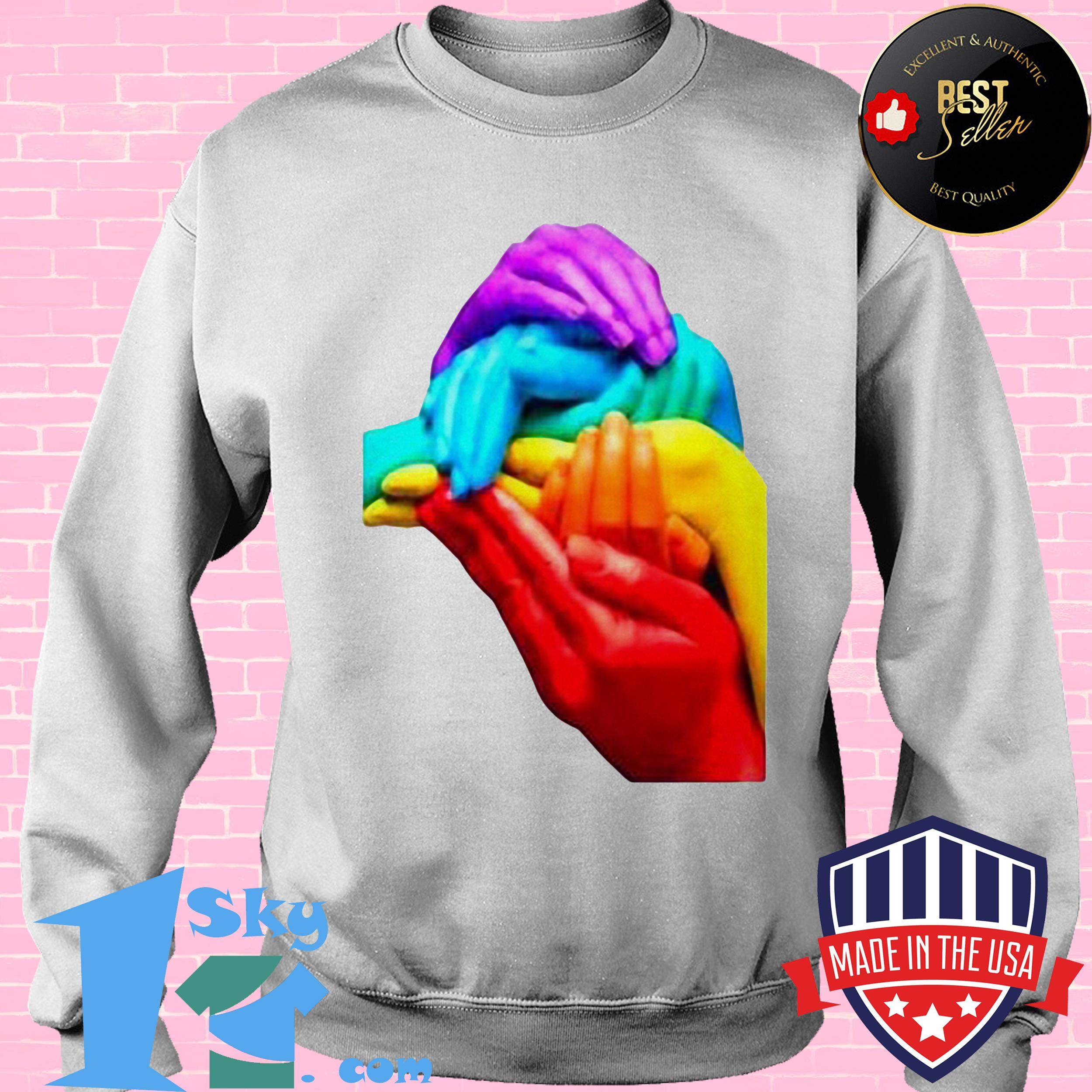 hands colourful gay pride lgbt london soho cool rainbow retro sweatshirt - Hands Colourful Gay Pride LGBT London Soho Cool Rainbow Retro Shirt