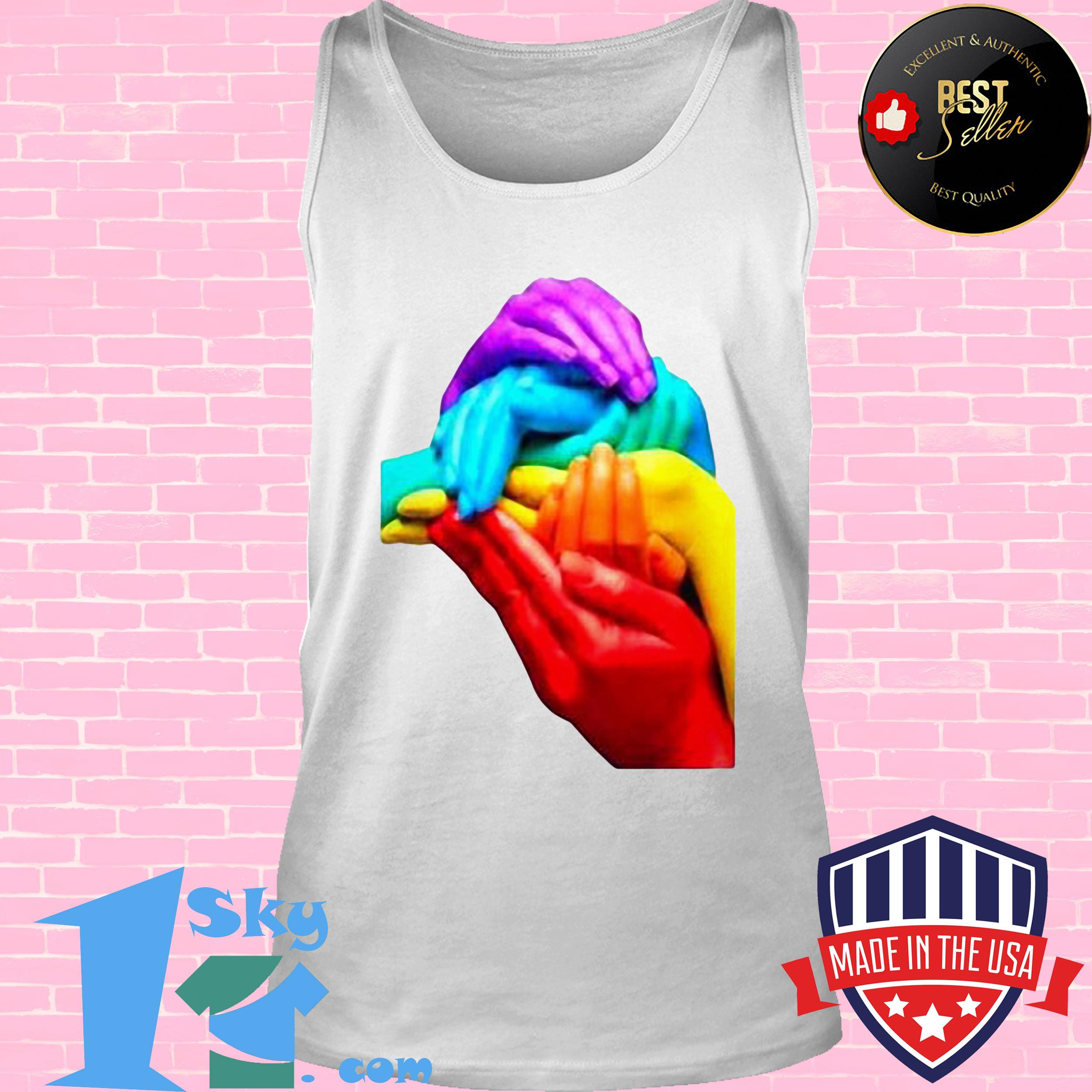 Hands Colourful Gay Pride LGBT London Soho Cool Rainbow Retro Shirt