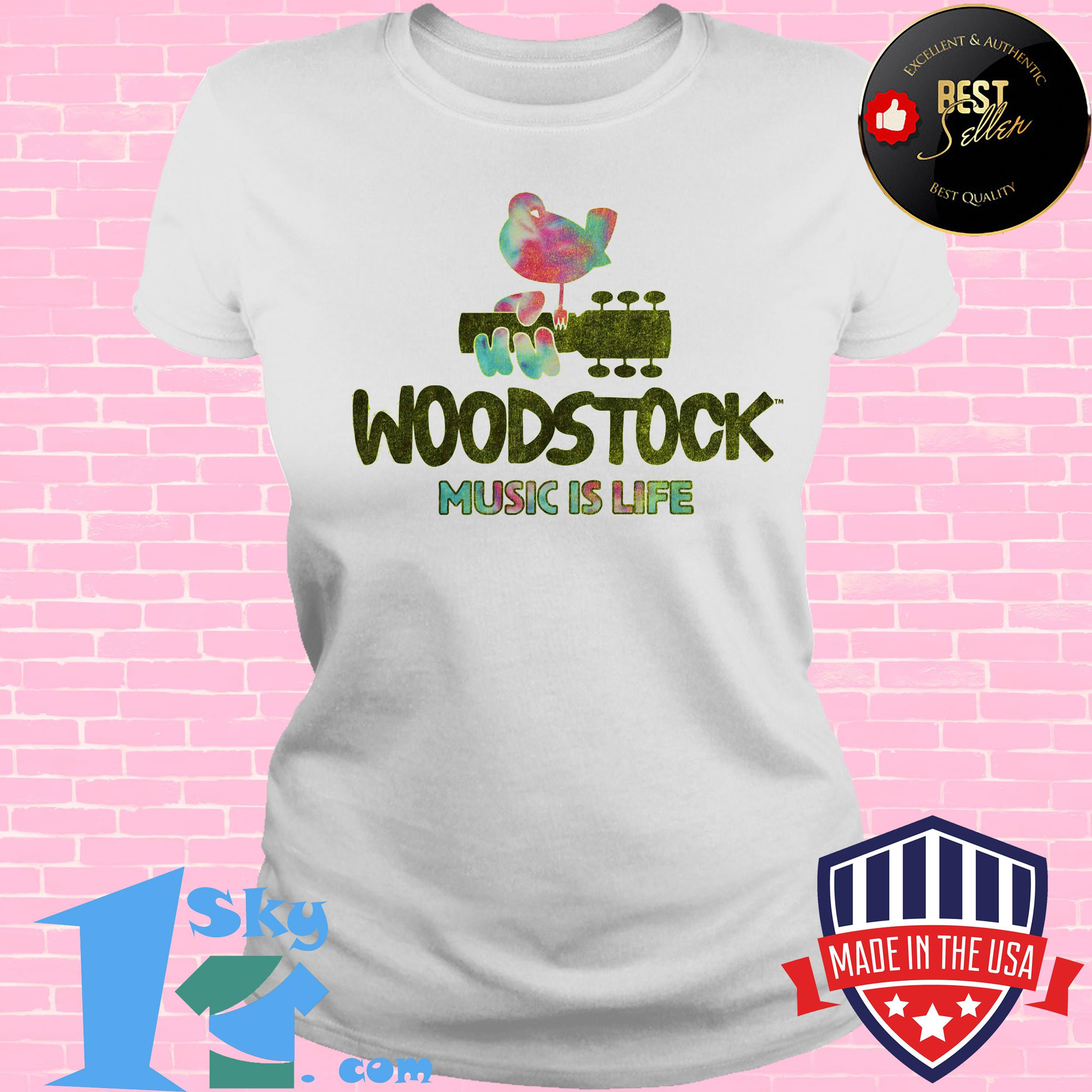 woodstock festival music is life bird ladies tee - Woodstock Festival  Music is Life Bird Shirt
