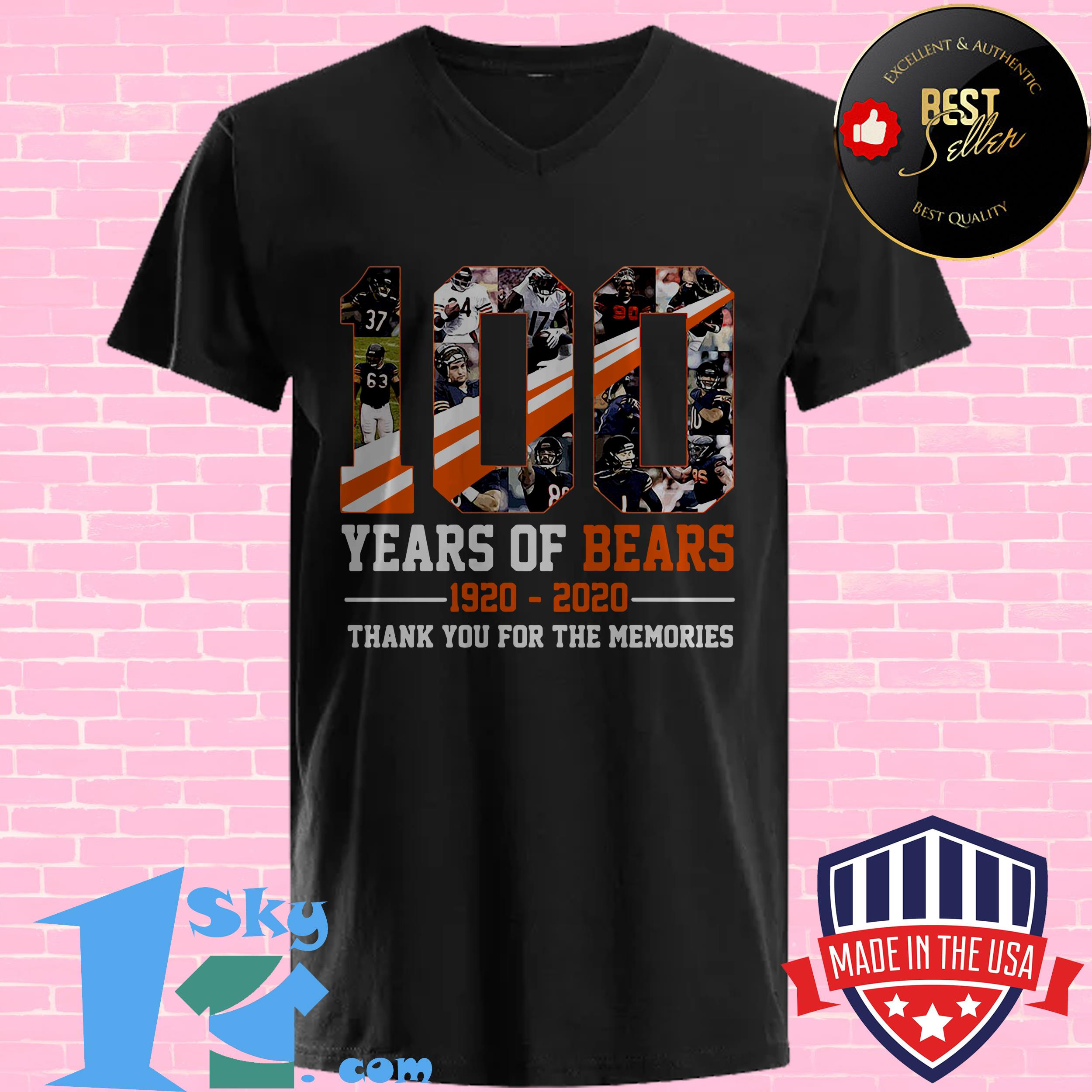 100 years of bears chicago 1920 2020 football jersey portrait customized v neck - 100 Years Of Bears Chicago 1920-2020 Football Jersey Portrait Customized shirt