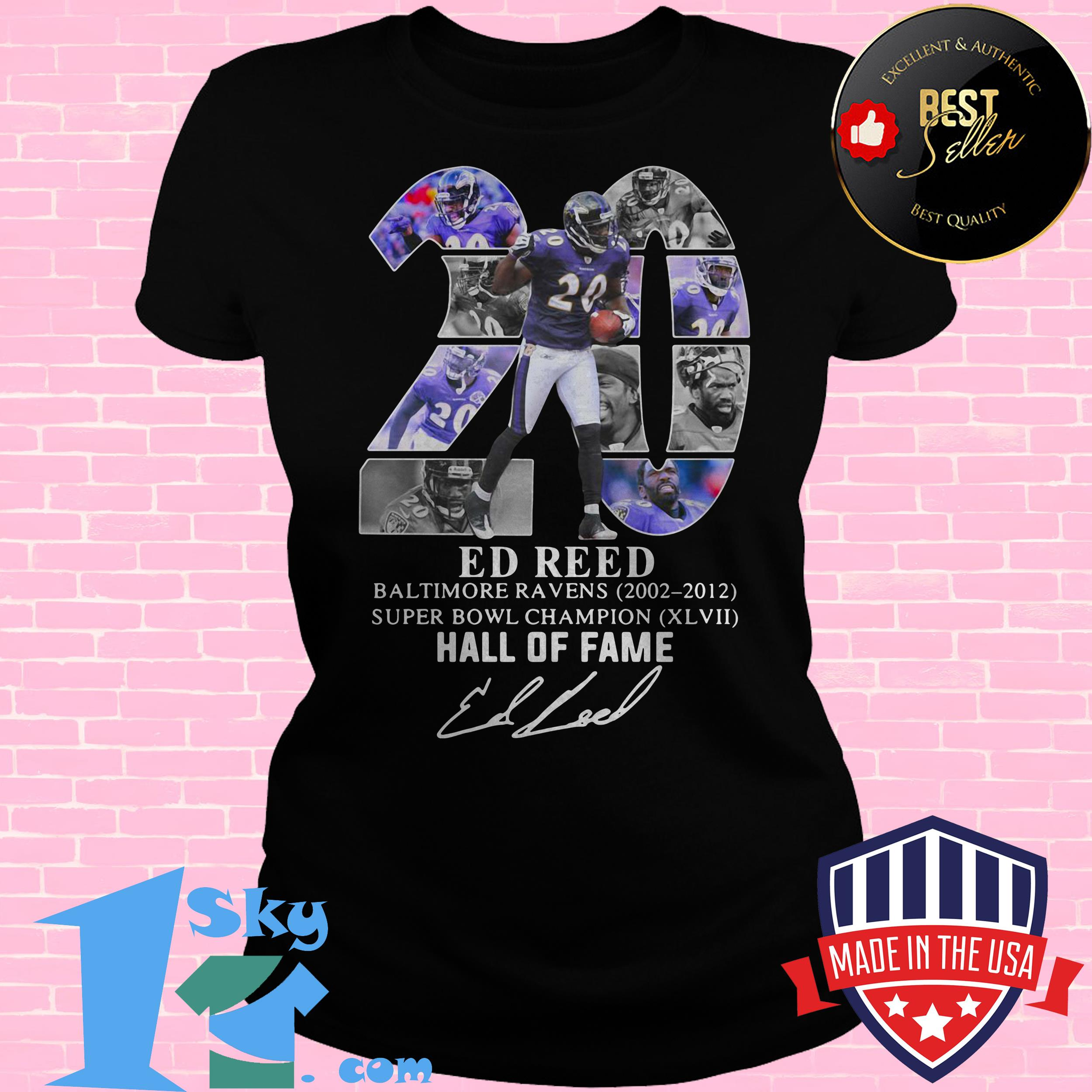 20 ed reed black baltimore ravens super bowl champion hall of fame signature ladies tee - 20 Ed Reed Black Baltimore Ravens Super Bowl Champion Hall of Fame Signature shirt