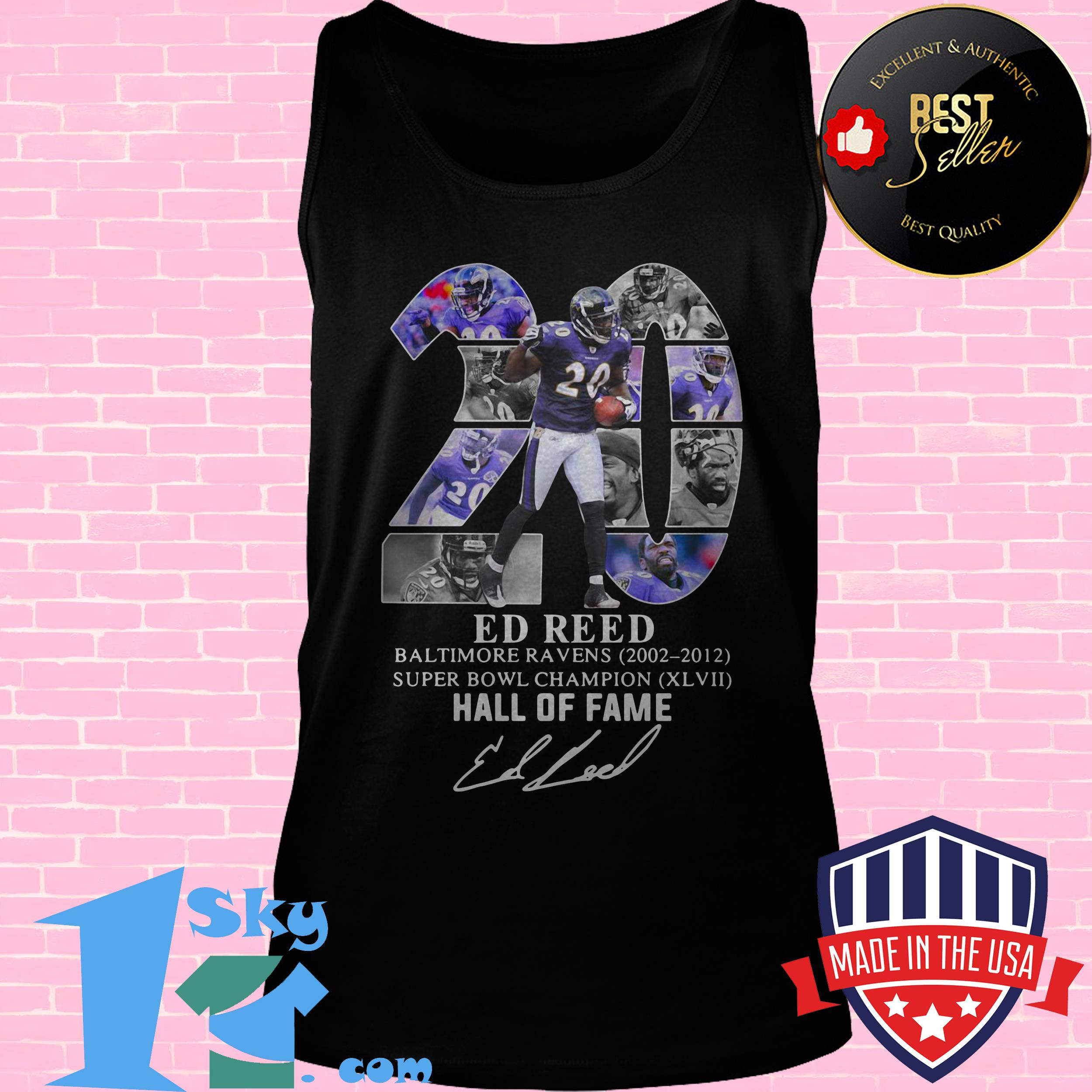 20 ed reed black baltimore ravens super bowl champion hall of fame signature tank top - 20 Ed Reed Black Baltimore Ravens Super Bowl Champion Hall of Fame Signature shirt