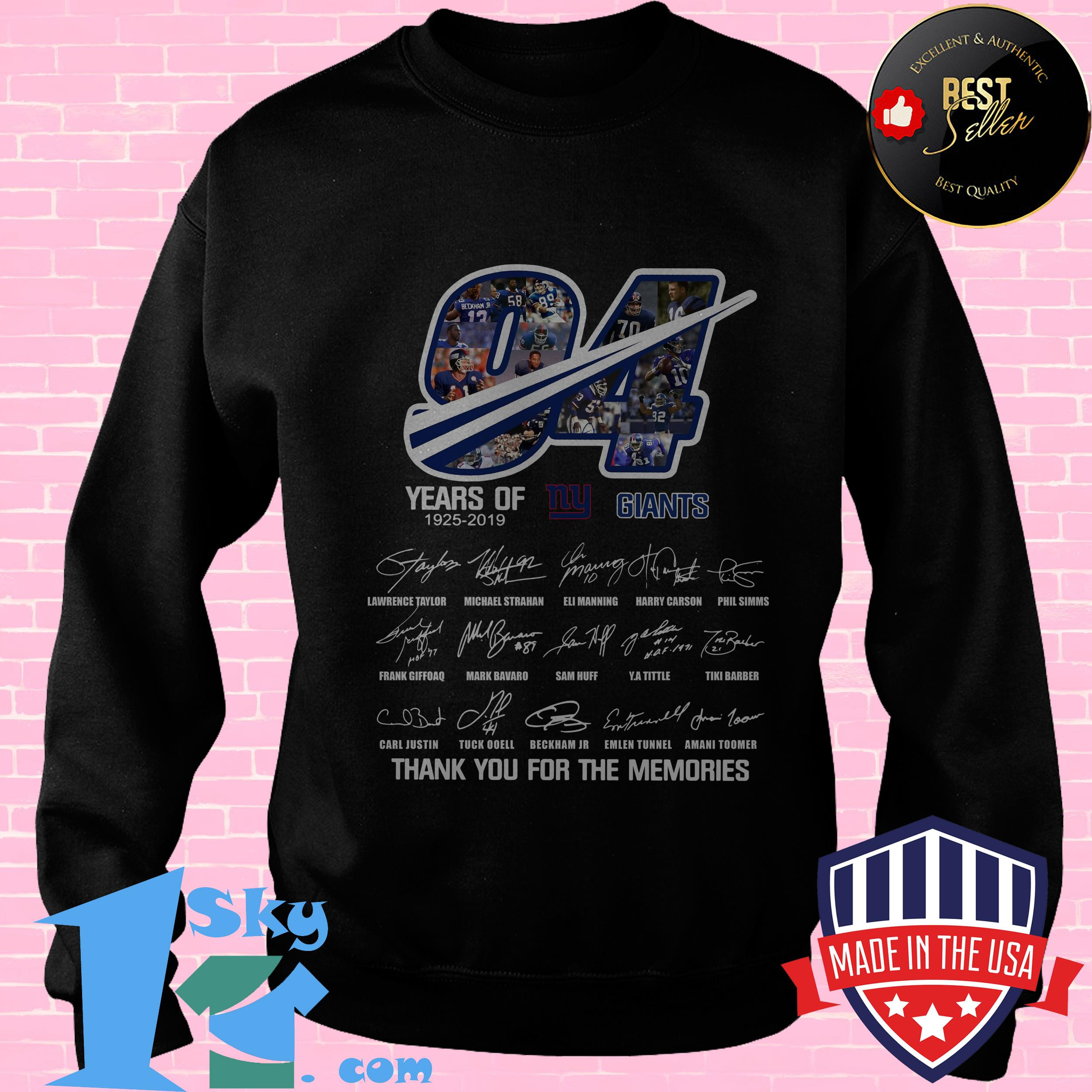 94 years of ny giants 1925 2019 thank you for the memories signature sweatshirt - 94 Years Of NY Giants 1925 2019 Thank you For the Memories Signature shirt