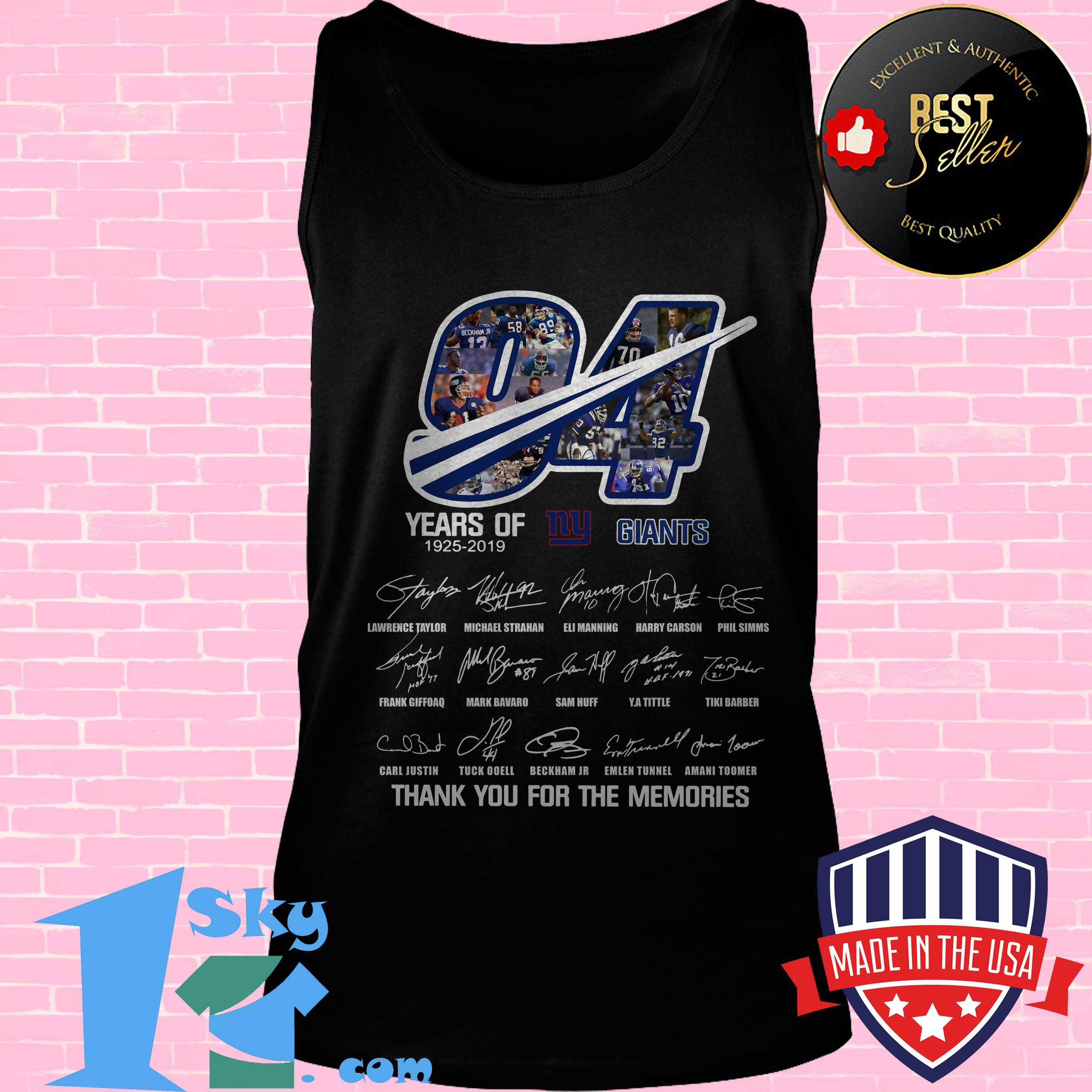 94 years of ny giants 1925 2019 thank you for the memories signature tank top - 94 Years Of NY Giants 1925 2019 Thank you For the Memories Signature shirt