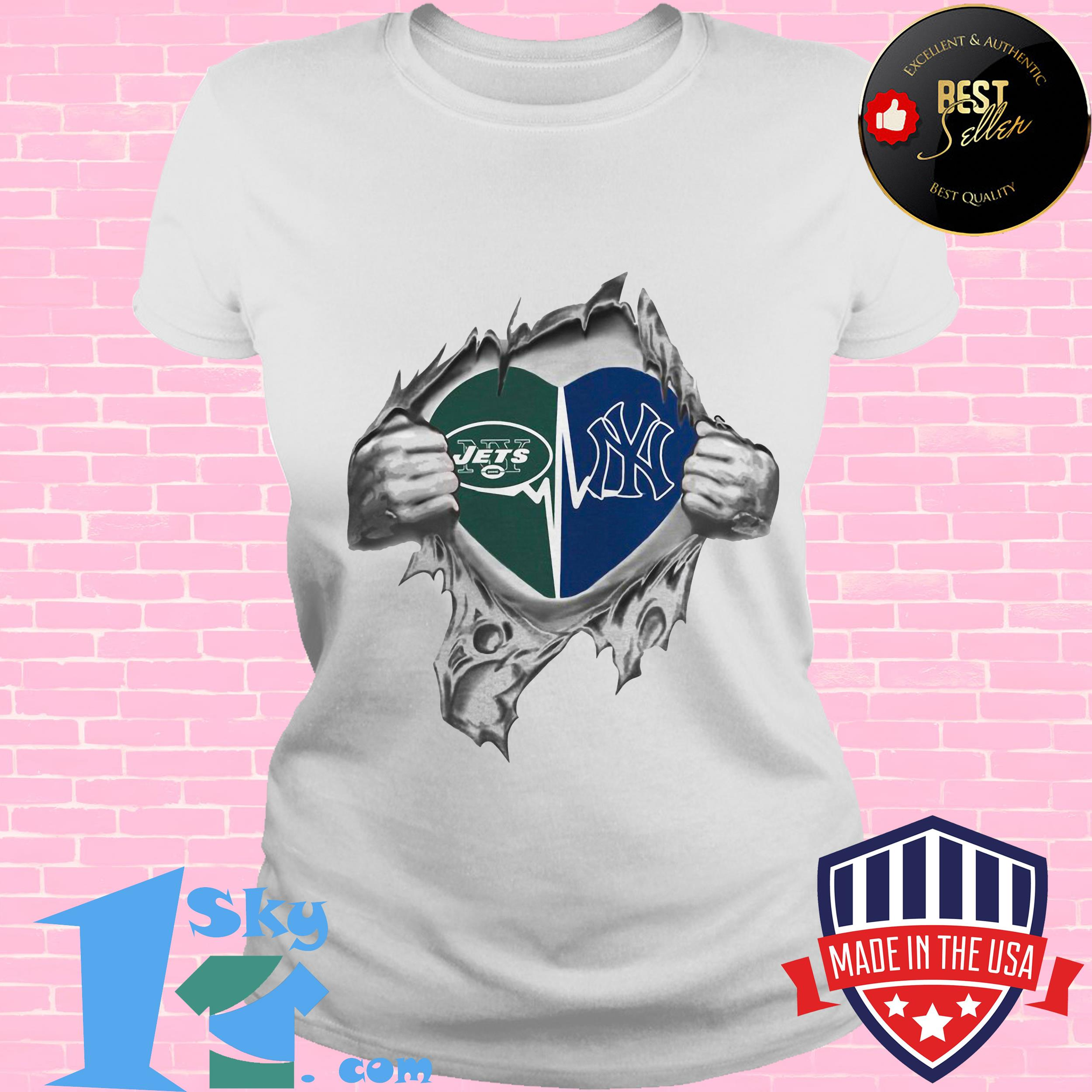 jets yankees its in my heart inside me ladies tee - Jets Yankees It's In My Heart Inside Me shirt