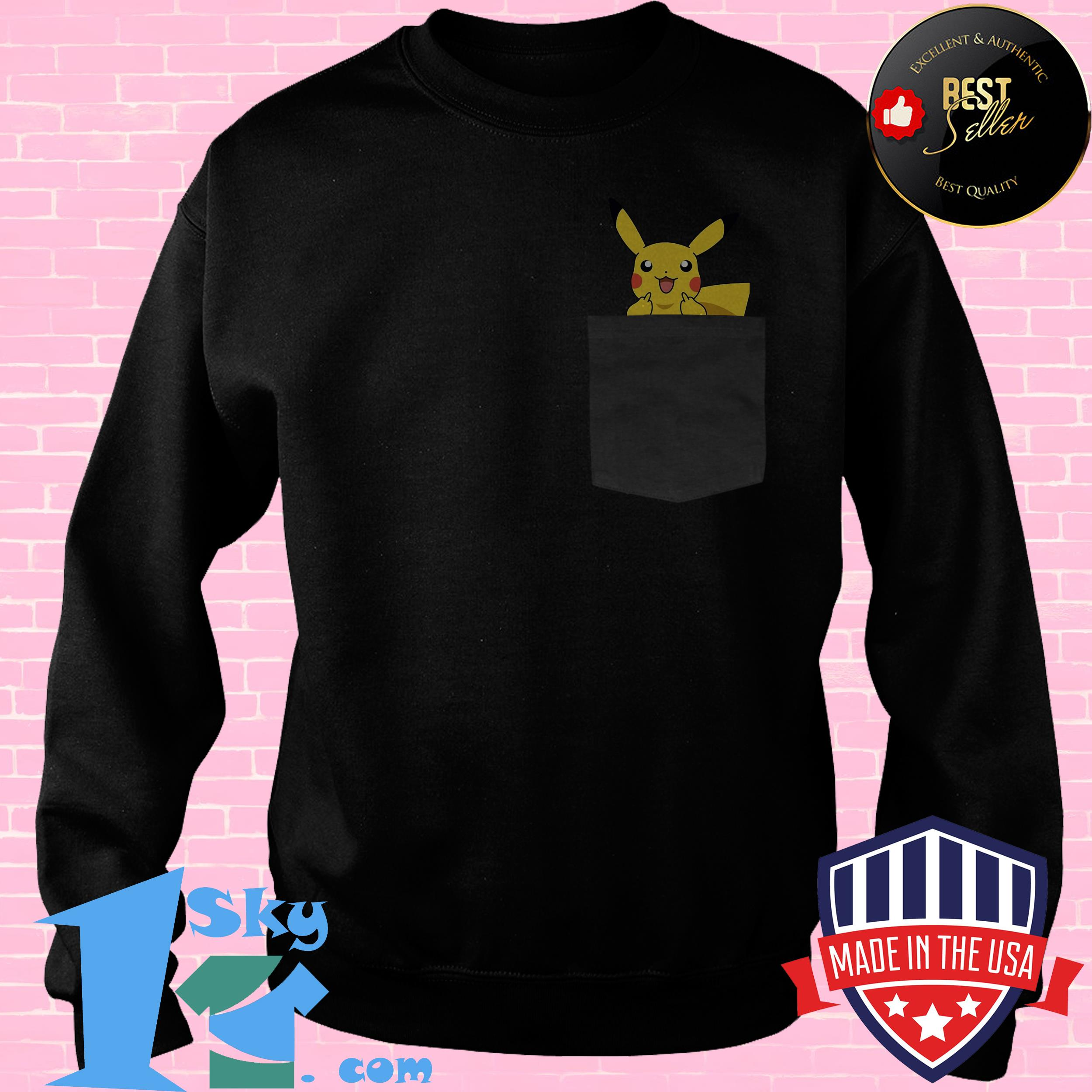 official surprised pikachu pocket cute sweatshirt - Official Surprised Pikachu Pocket Cute shirt
