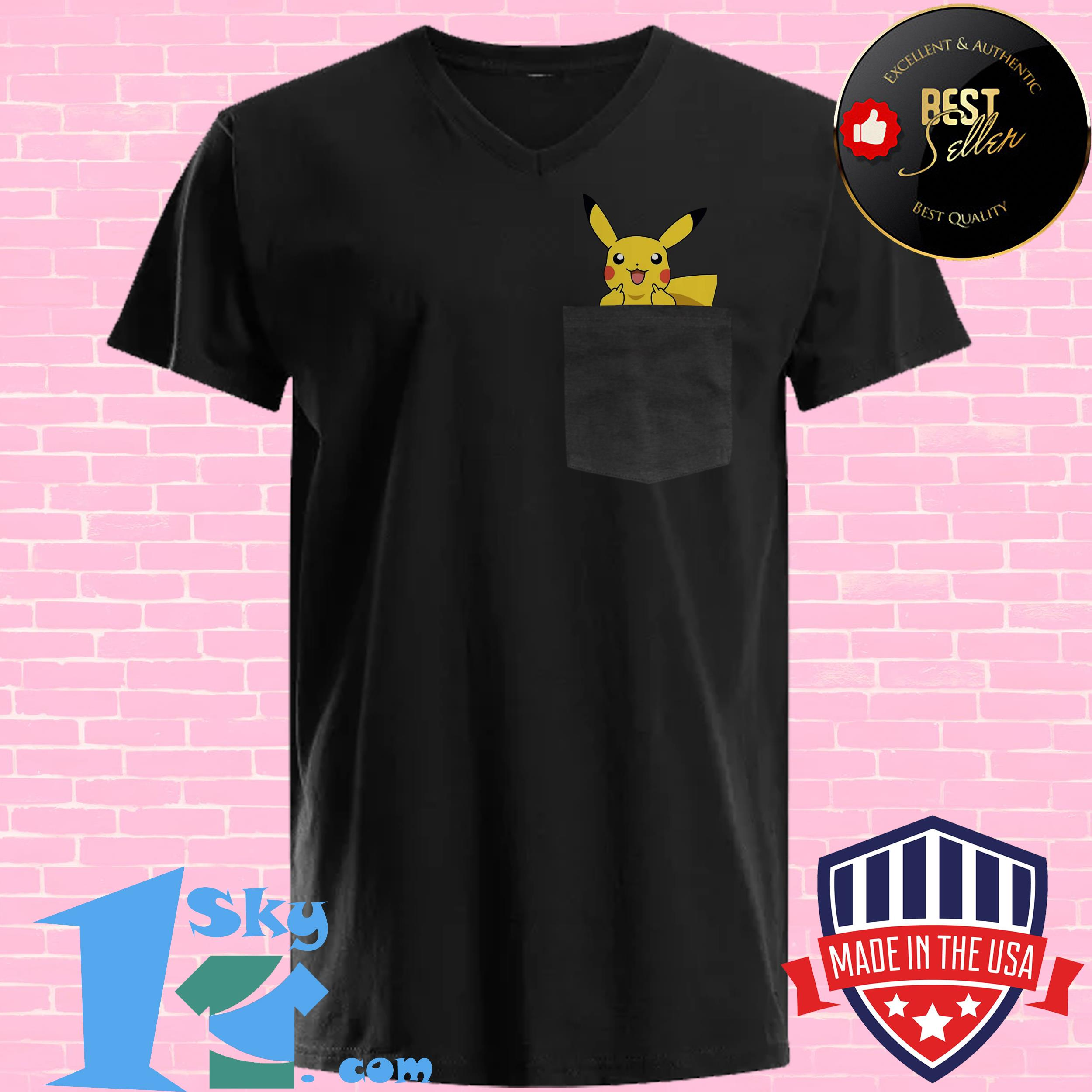 official surprised pikachu pocket cute v neck - Official Surprised Pikachu Pocket Cute shirt