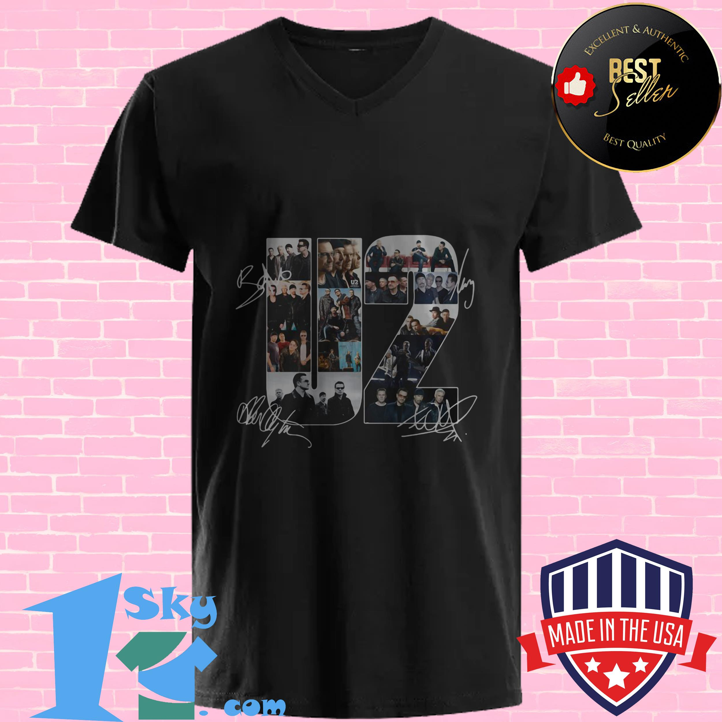 official u2 members signatures v neck - Official U2 Members Signatures shirt