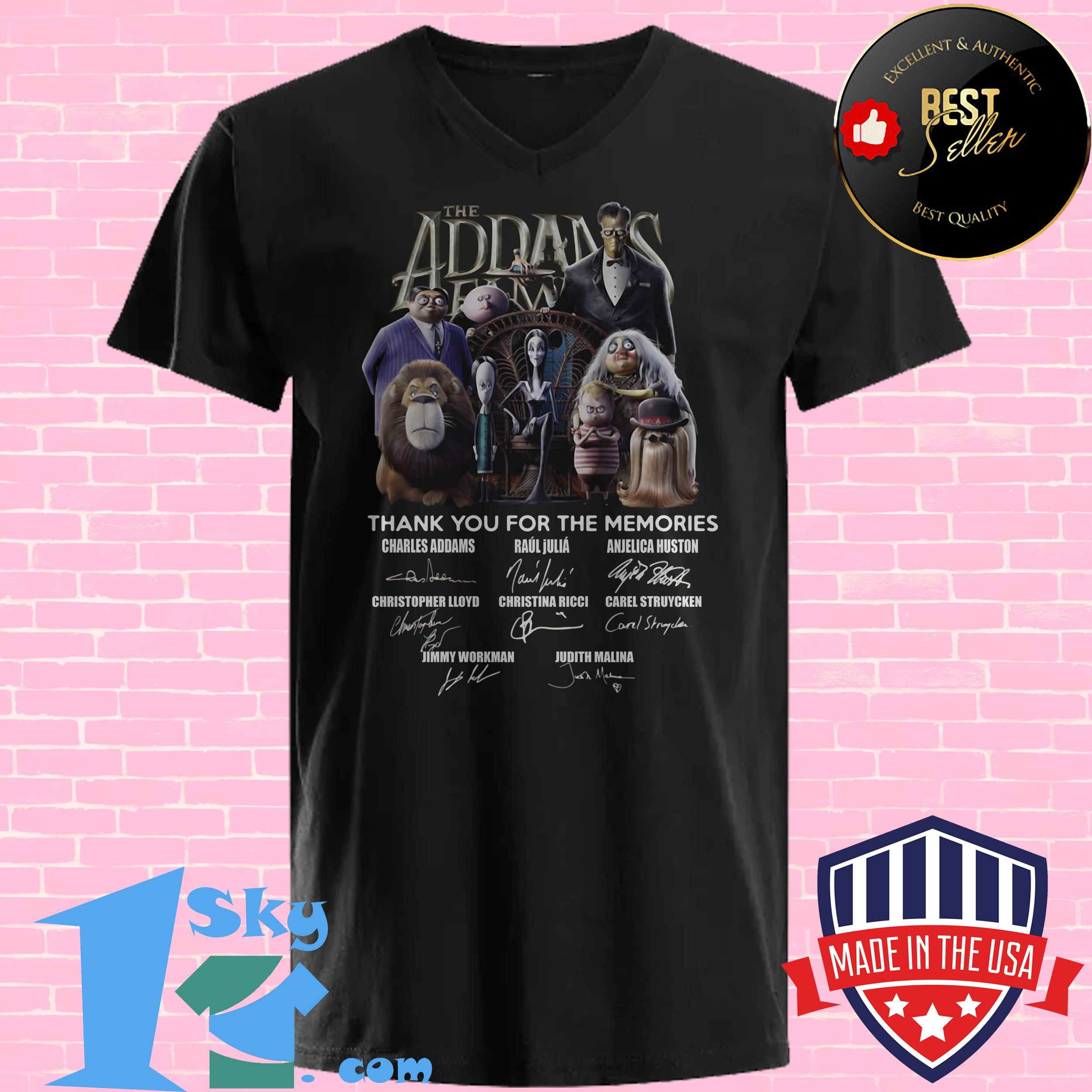 the addams family thank you for the memories signature v neck - The Addams Family Thank You For The Memories Signature Shirt