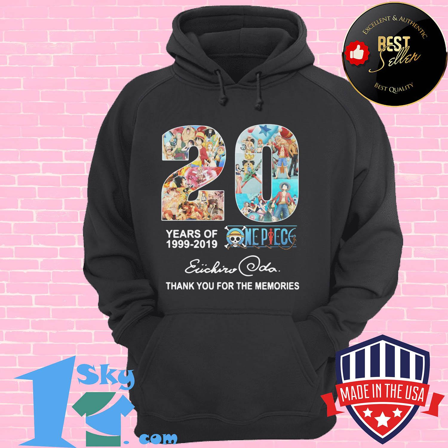 20 year of one piece anime anniversary 1999 2019 eiichiro oda hoodie - 20 year of One Piece Anime anniversary 1999 2019 Eiichiro Oda shirt