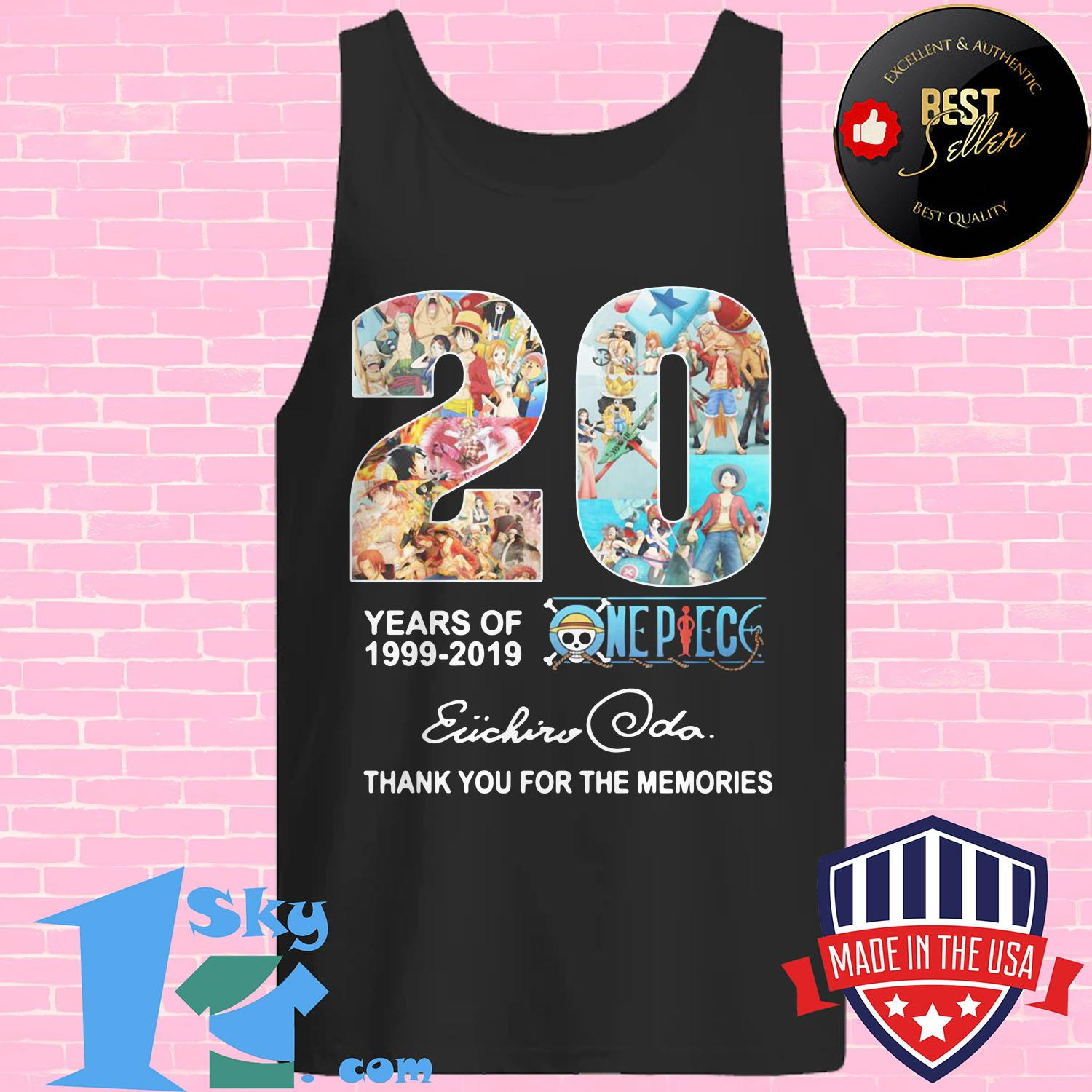 20 year of one piece anime anniversary 1999 2019 eiichiro oda tank top - 20 year of One Piece Anime anniversary 1999 2019 Eiichiro Oda shirt