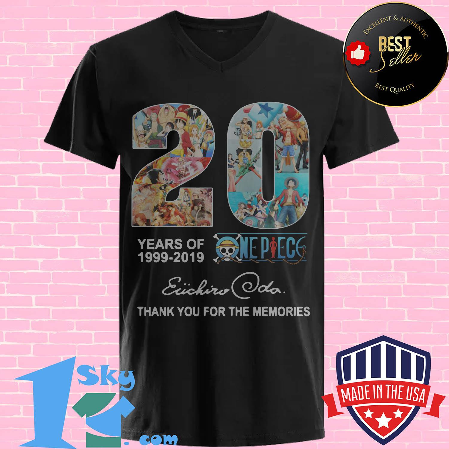 20 year of one piece anime anniversary 1999 2019 eiichiro oda v neck - 20 year of One Piece Anime anniversary 1999 2019 Eiichiro Oda shirt