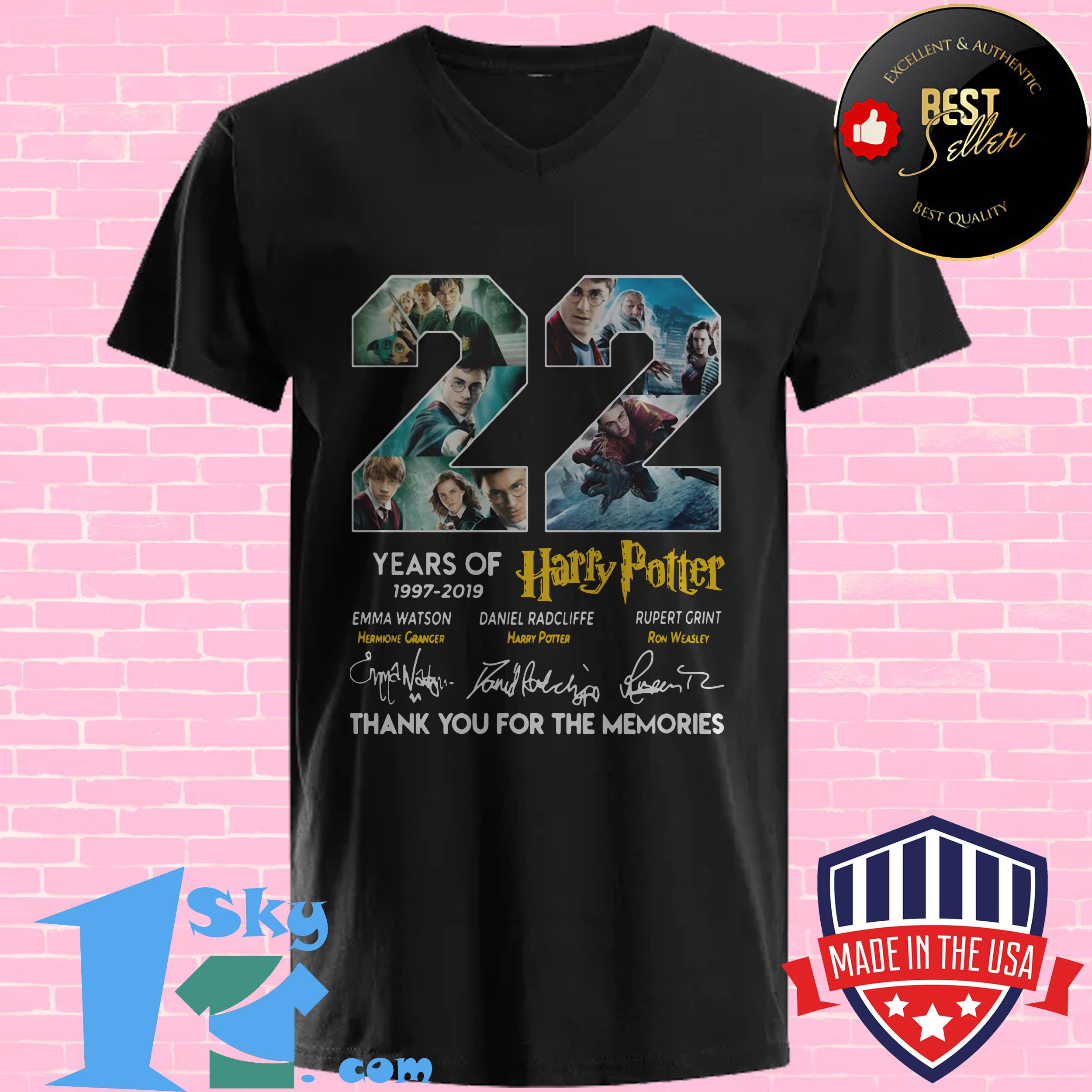 22 years of harry potter 1997 2019 signature v neck - 22 Years Of Harry Potter 1997 – 2019 Signature shirt