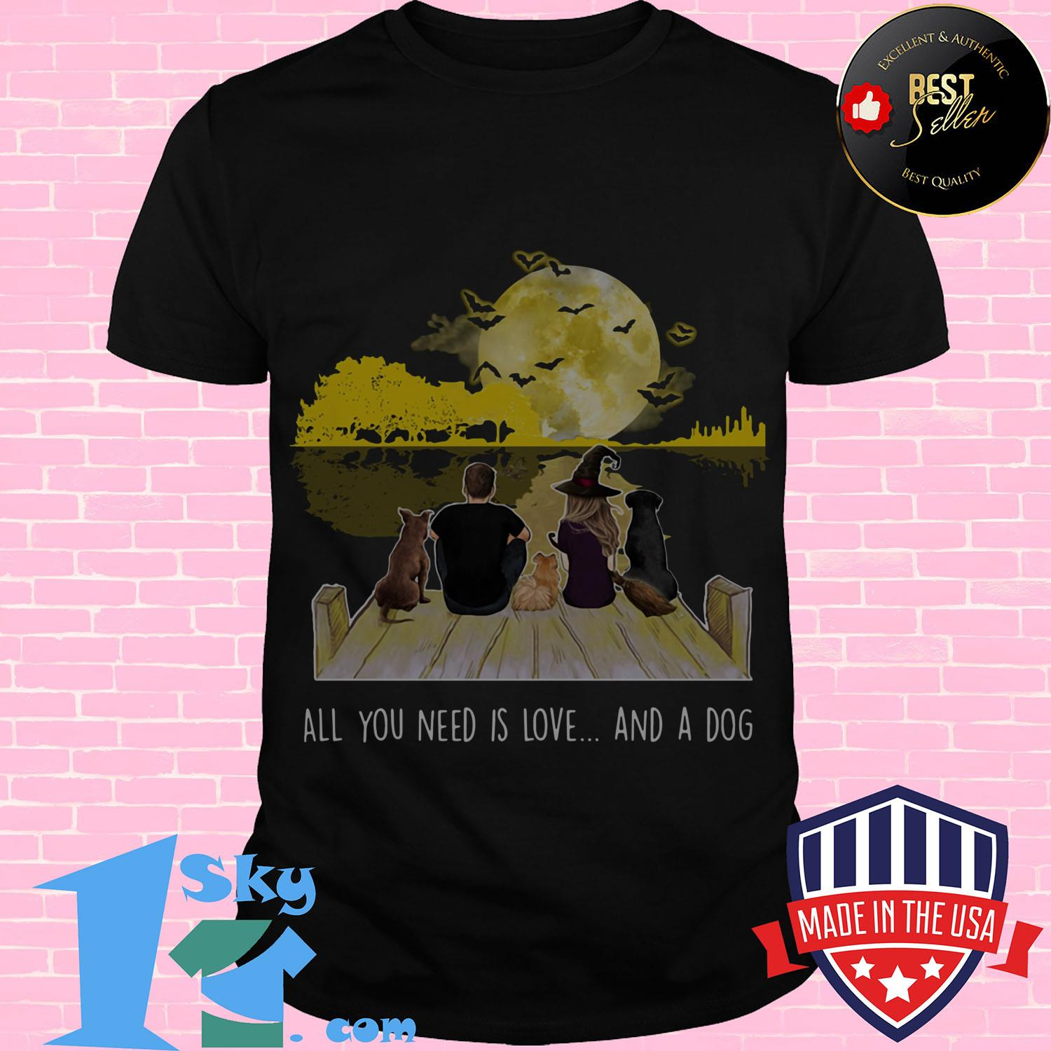 all you need is love and a dog halloween laides tee - All You Need is Love and A Dog Halloween shirt