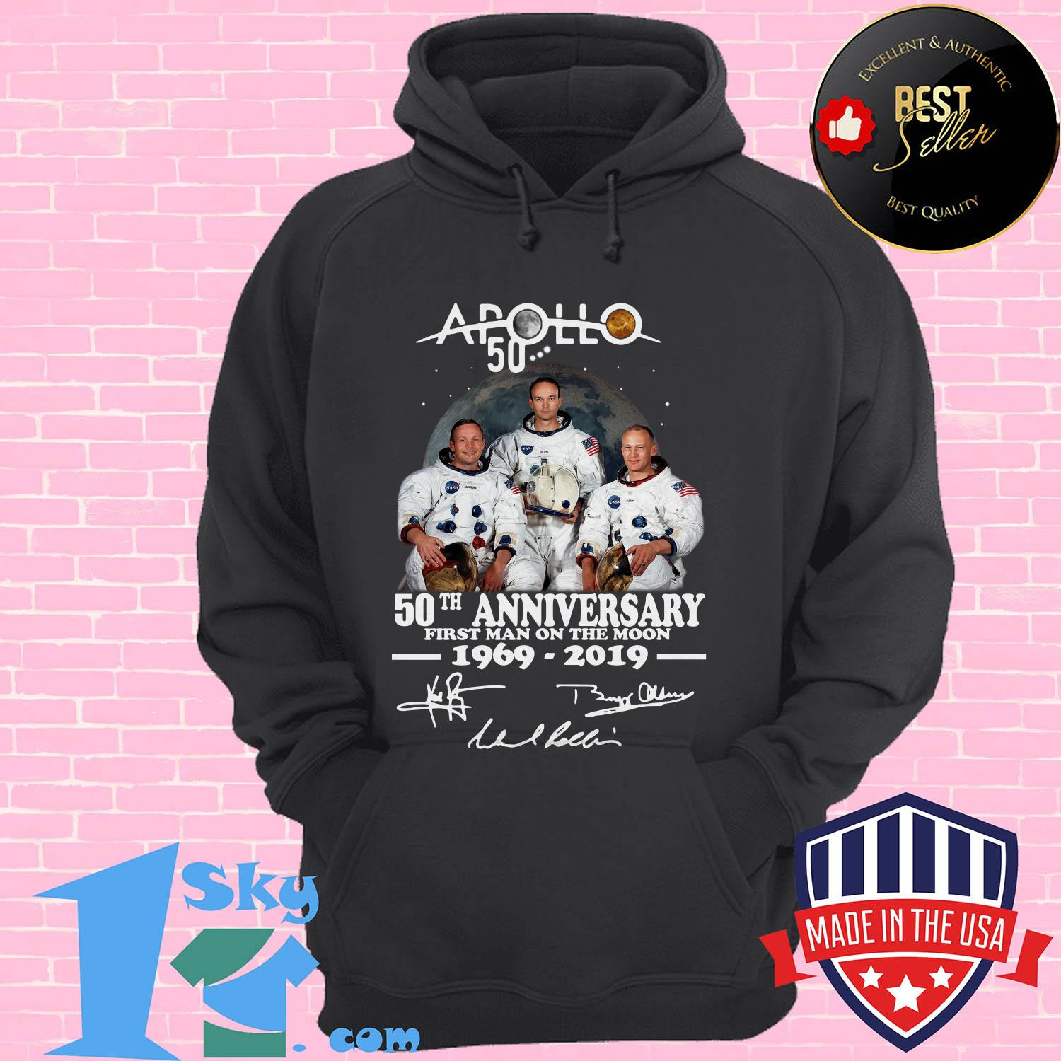apollo 50th anniversary first man on the moon 1969 2019 rabbit skins toddler fleece signature hoodie - Apollo 50th anniversary first Man on the moon 1969-2019 rabbit skins toddler fleece signature shirt