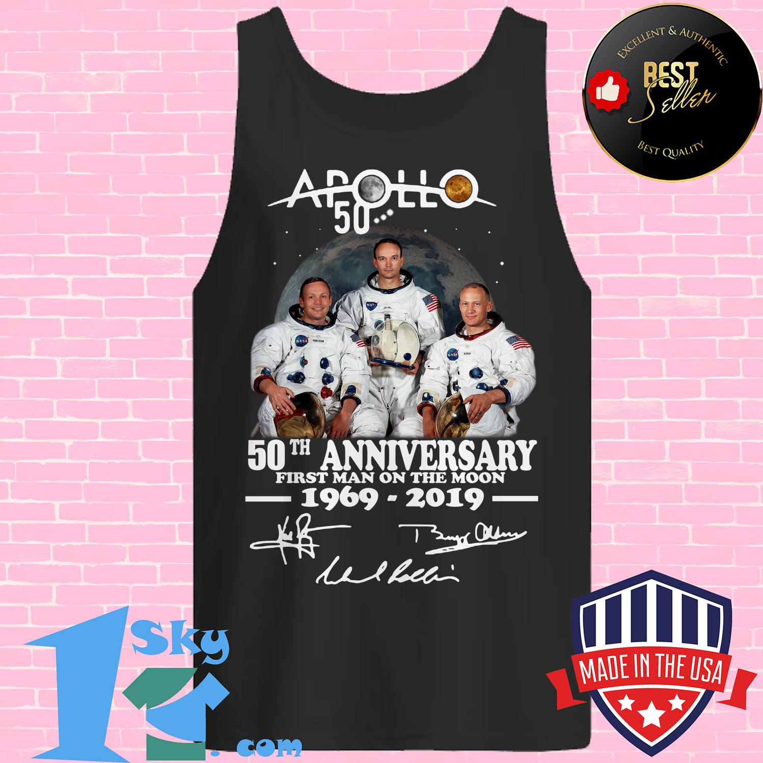 apollo 50th anniversary first man on the moon 1969 2019 rabbit skins toddler fleece signature tank top - Apollo 50th anniversary first Man on the moon 1969-2019 rabbit skins toddler fleece signature shirt