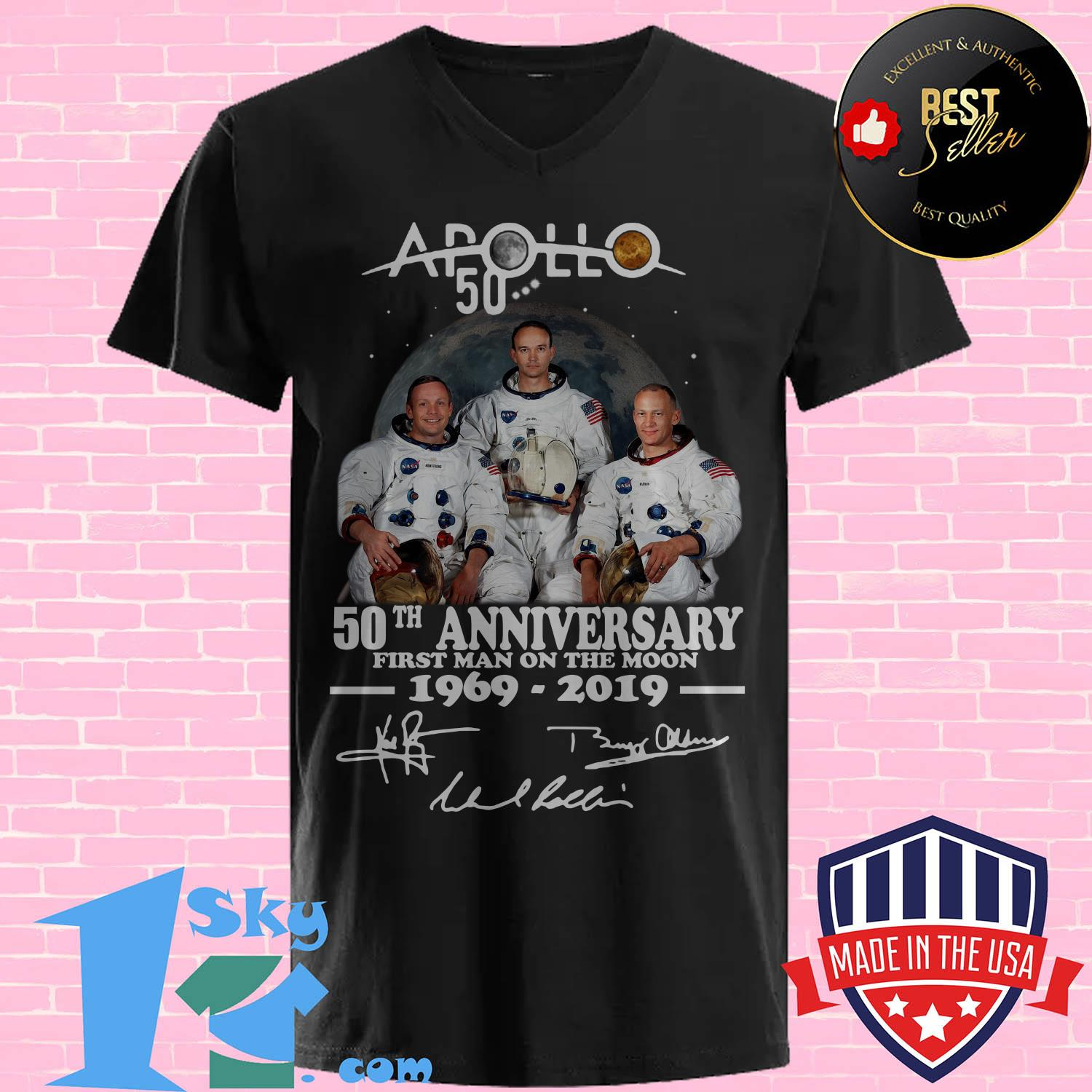 apollo 50th anniversary first man on the moon 1969 2019 rabbit skins toddler fleece signature v neck - Apollo 50th anniversary first Man on the moon 1969-2019 rabbit skins toddler fleece signature shirt