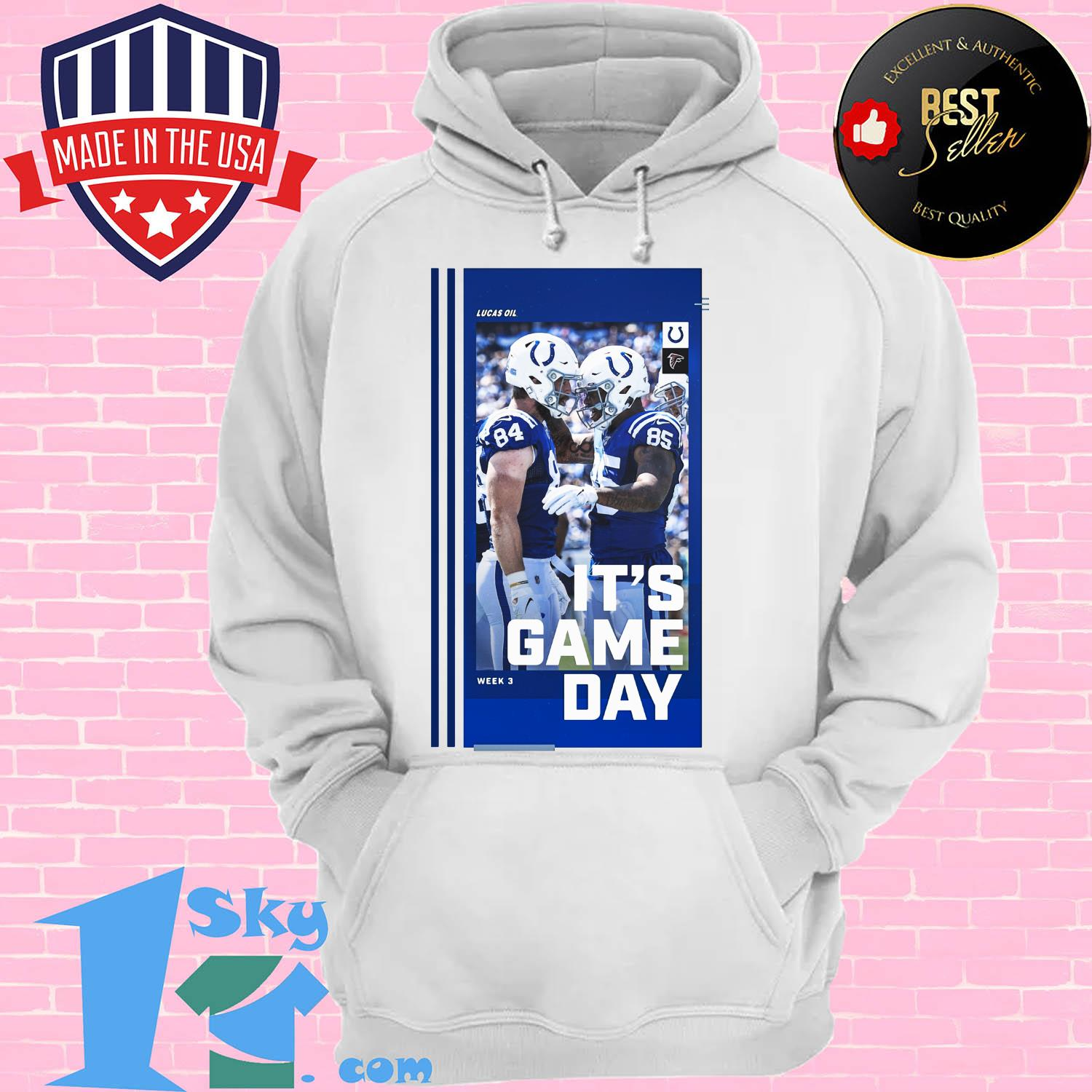 reputable site 282a4 4b4f2 Atlanta Falcons and Indianapolis Colts Lucas Oil It's gameday shirt