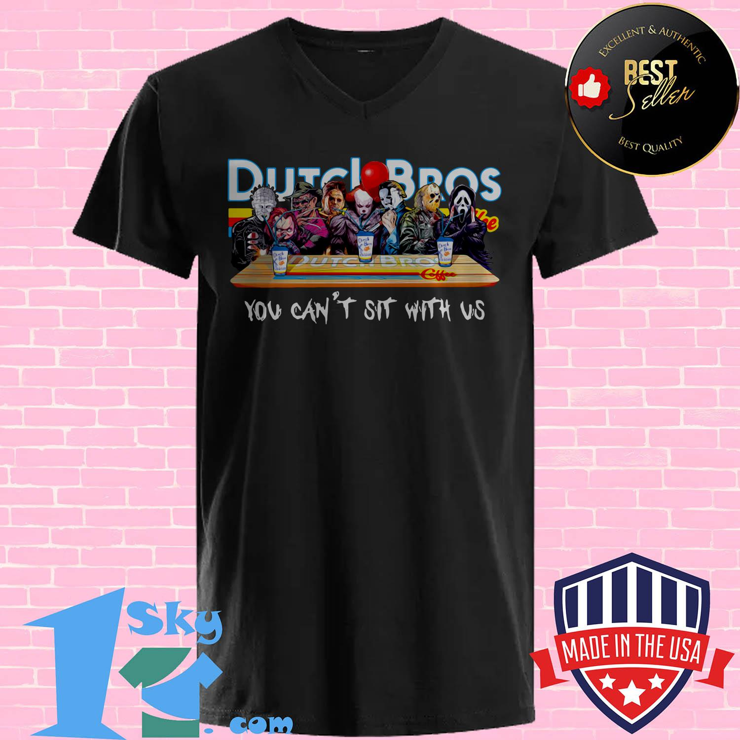 dutch bros coffee horror character movie you cant sit with us v neck - Dutch Bros Coffee Horror Character movie You Can't Sit with Us shirt