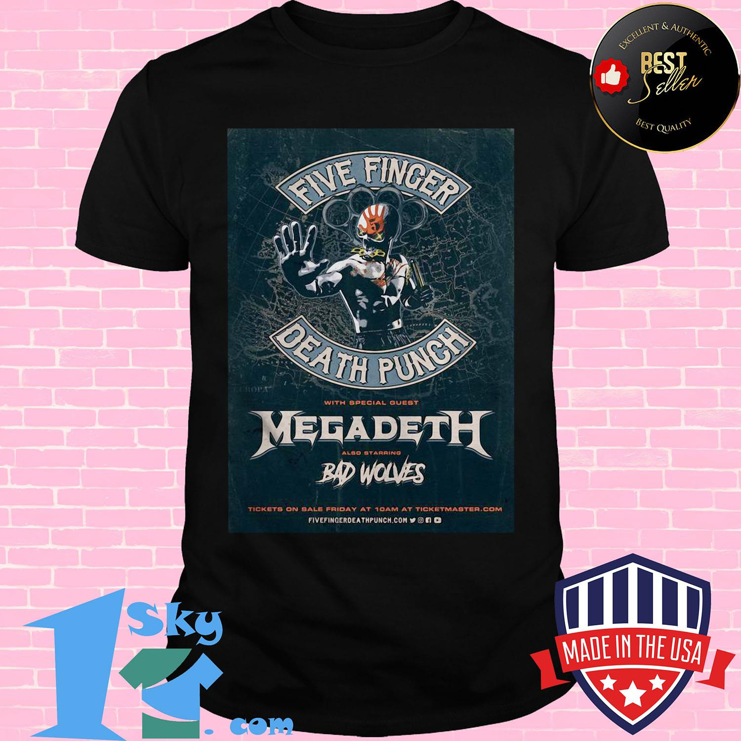 five finger death punch with special guest megadeth also starring bad wolves 2020 european ladies tee - Five Finger Death Punch With Special Guest Megadeth Also Starring Bad Wolves 2020 European shirt