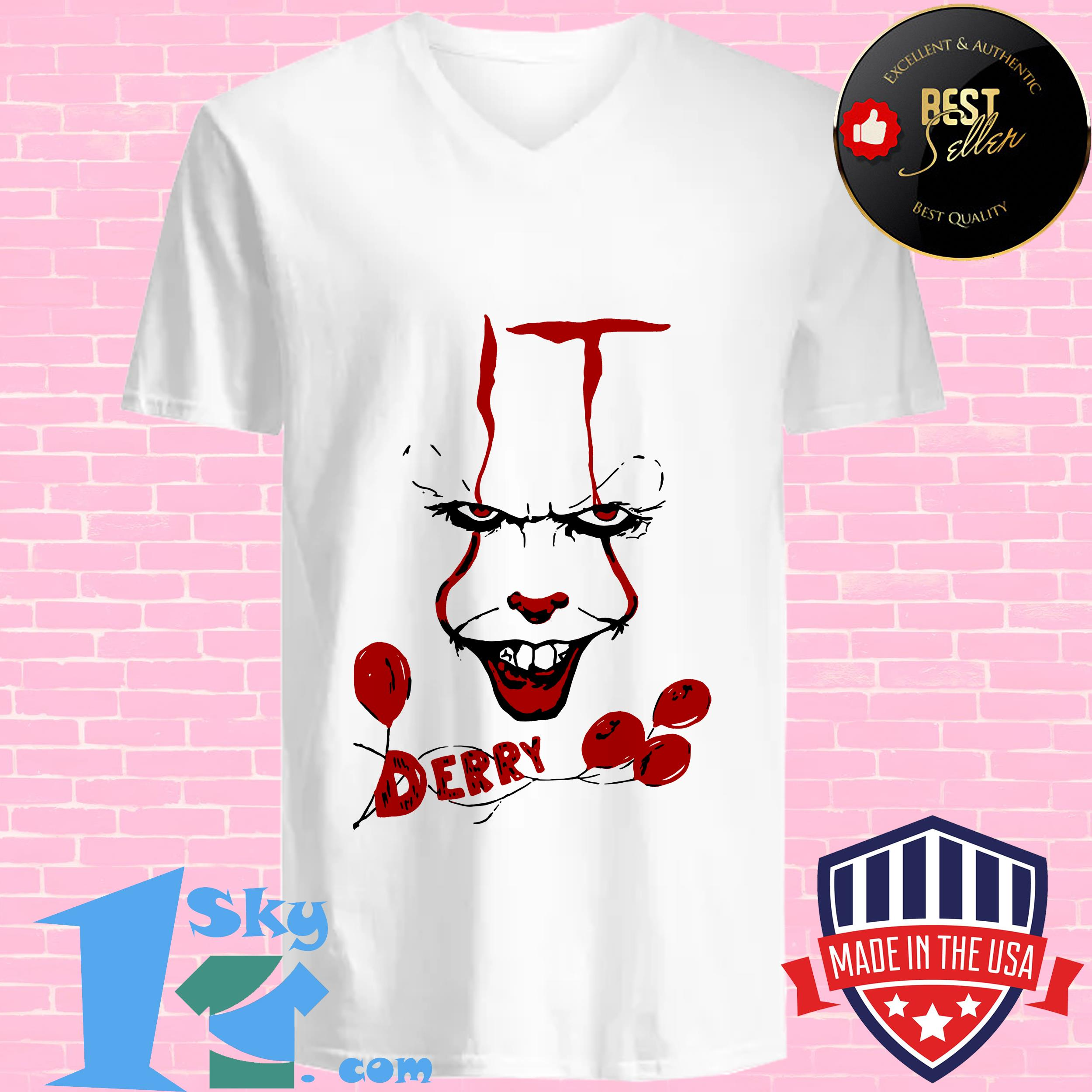 it pennywise killer clown chud stephen king derry maine v neck - IT Pennywise Killer Clown Chud Stephen King Derry Maine shirt