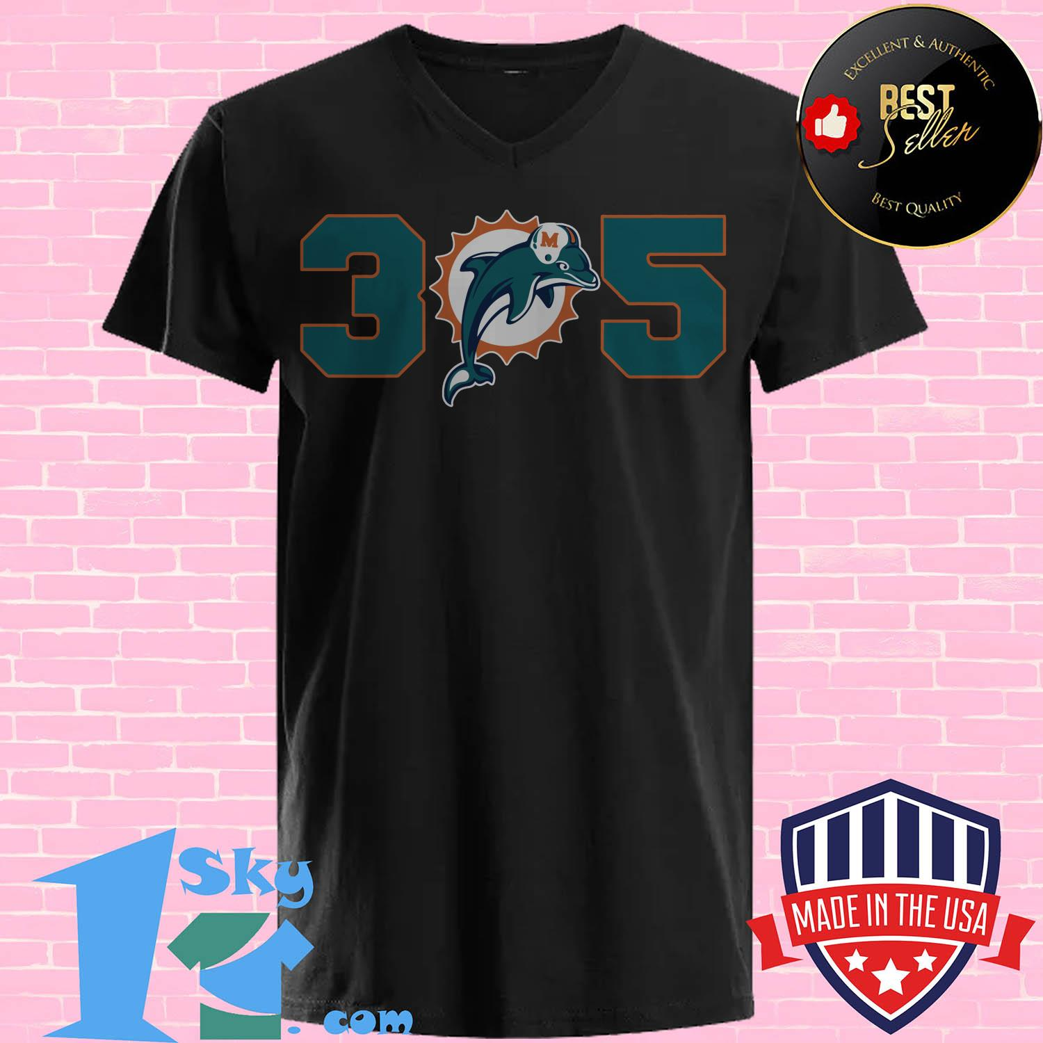 official 305 miami dolphins v neck - Official 305 Miami Dolphins shirt