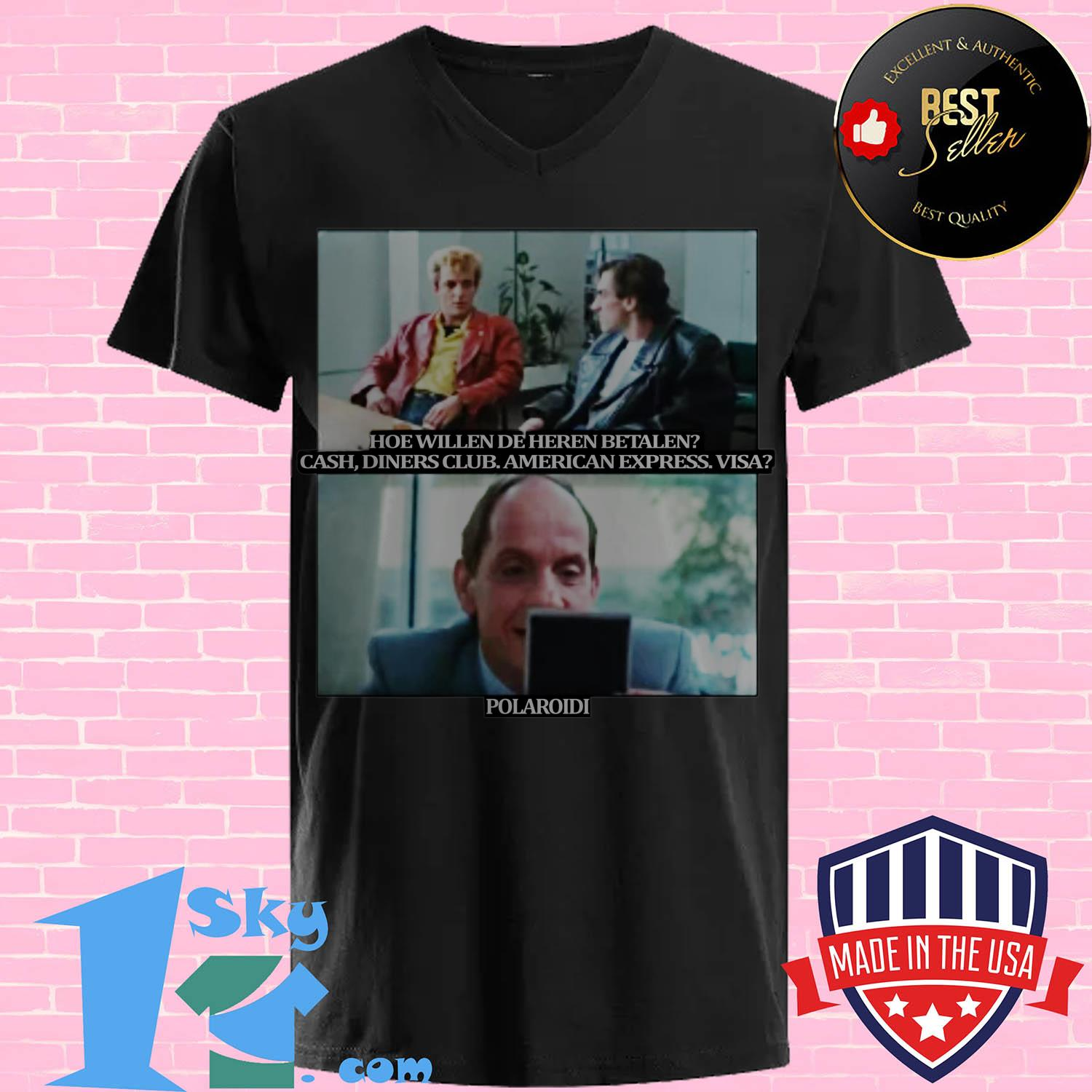 polaroid en hoe willen de heren betalen cash diners club american express visa v neck - Polaroid En hoe willen de heren betalen cash diners club American Express Visa shirt