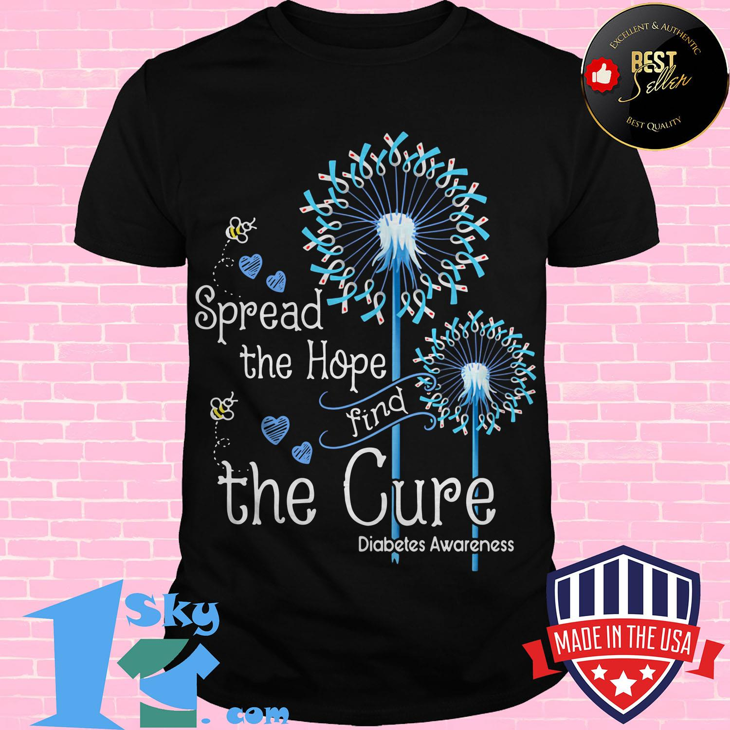 pread the hope find the cure diabetes awareness dandelion ladies tee - Spread the hope find the cure diabetes awareness dandelion shirt