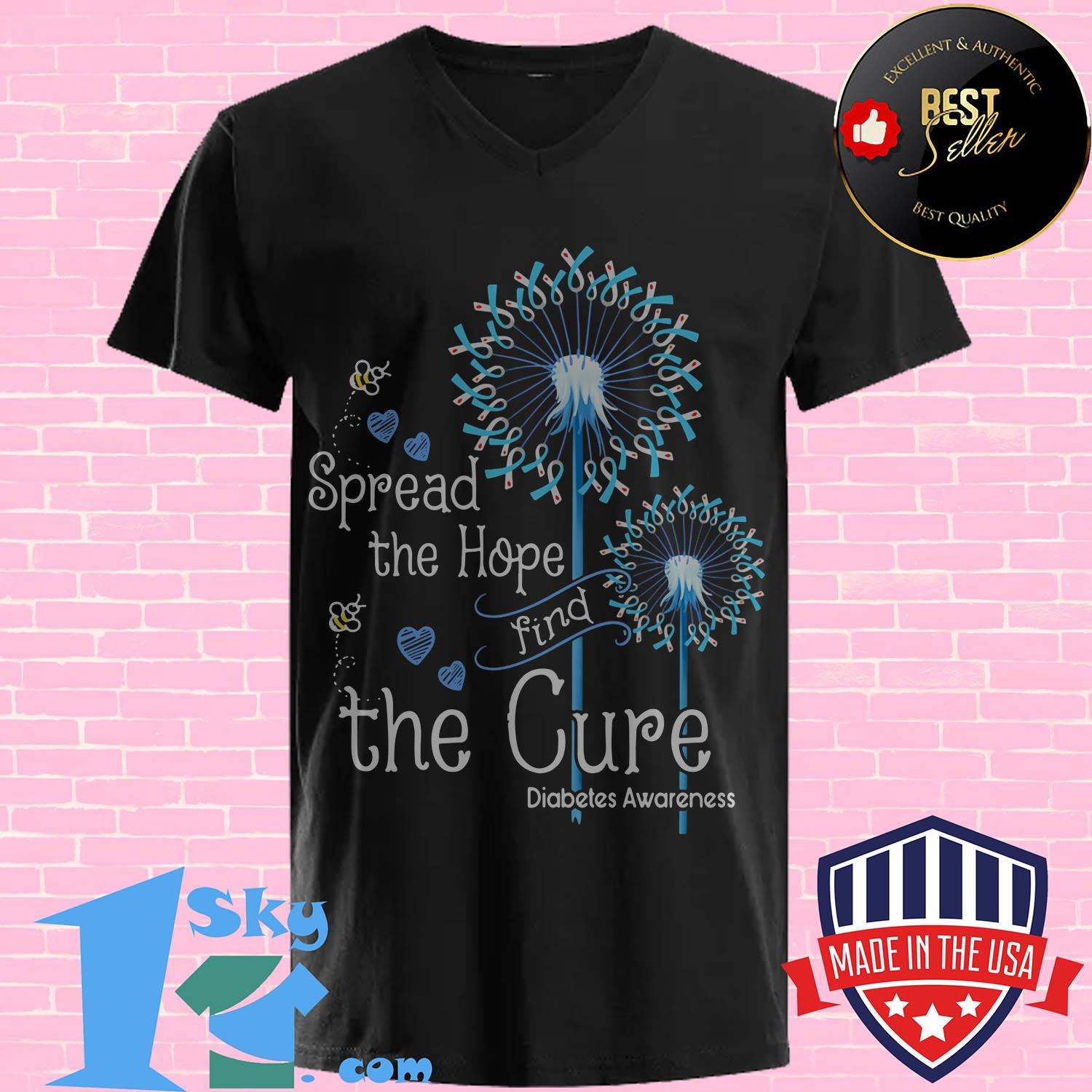 pread the hope find the cure diabetes awareness dandelion v neck - Spread the hope find the cure diabetes awareness dandelion shirt