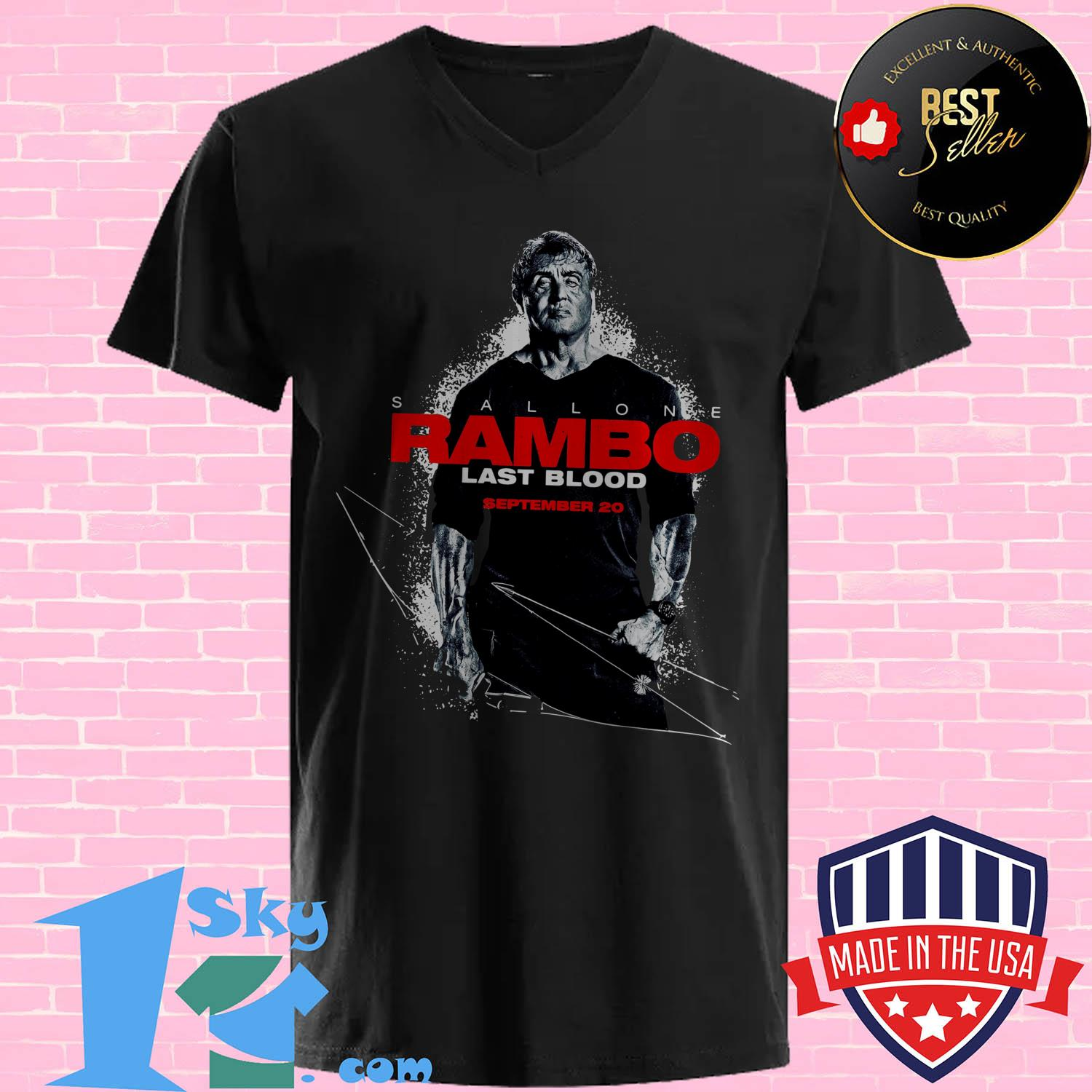 stallone rambo last blood september 20 v neck - Stallone Rambo Last Blood September 20 shirt