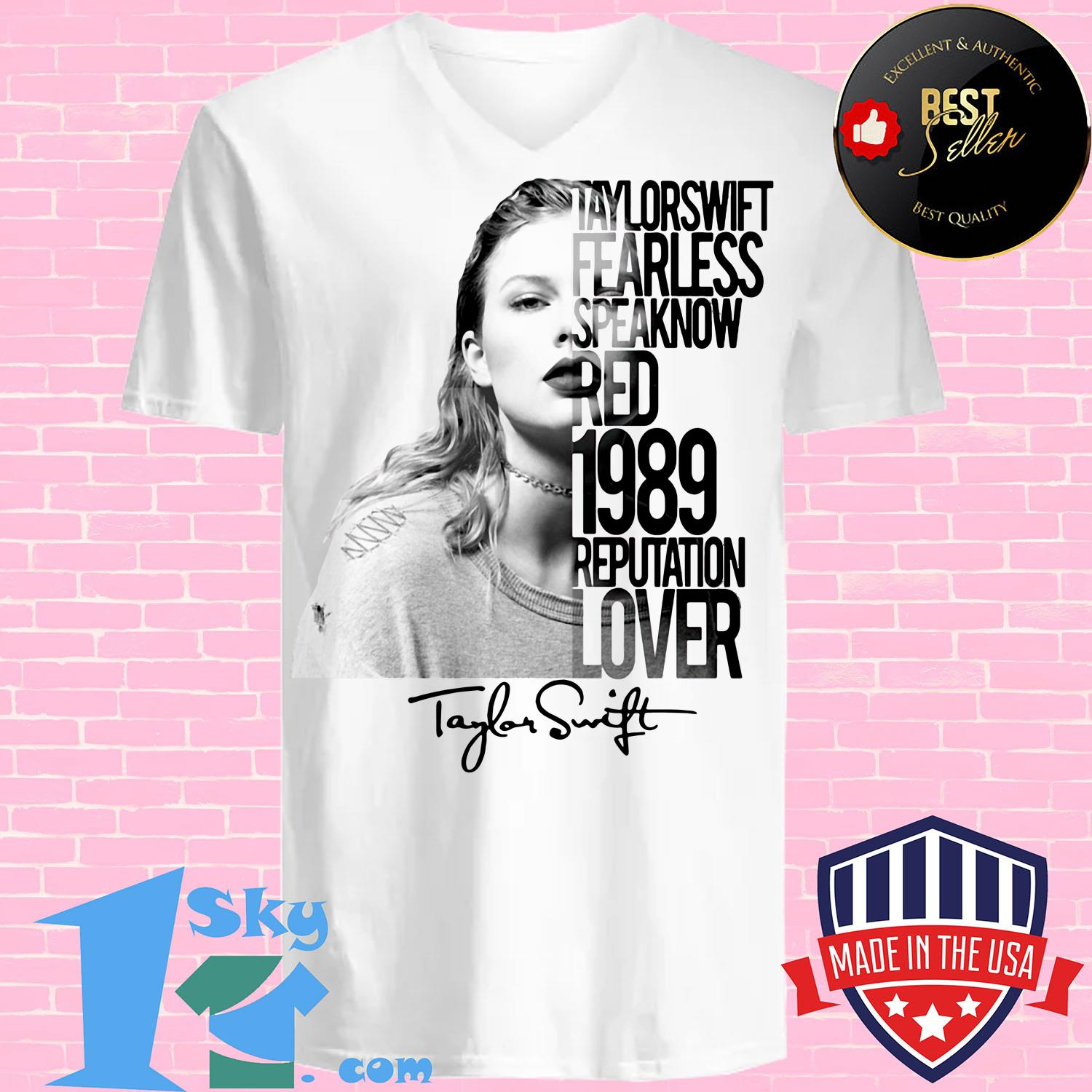 taylor swift fearless speak now red 1989 reputation lover poster v neck - Taylor Swift fearless Speak Now Red 1989 Reputation Lover Poster Signature shirt