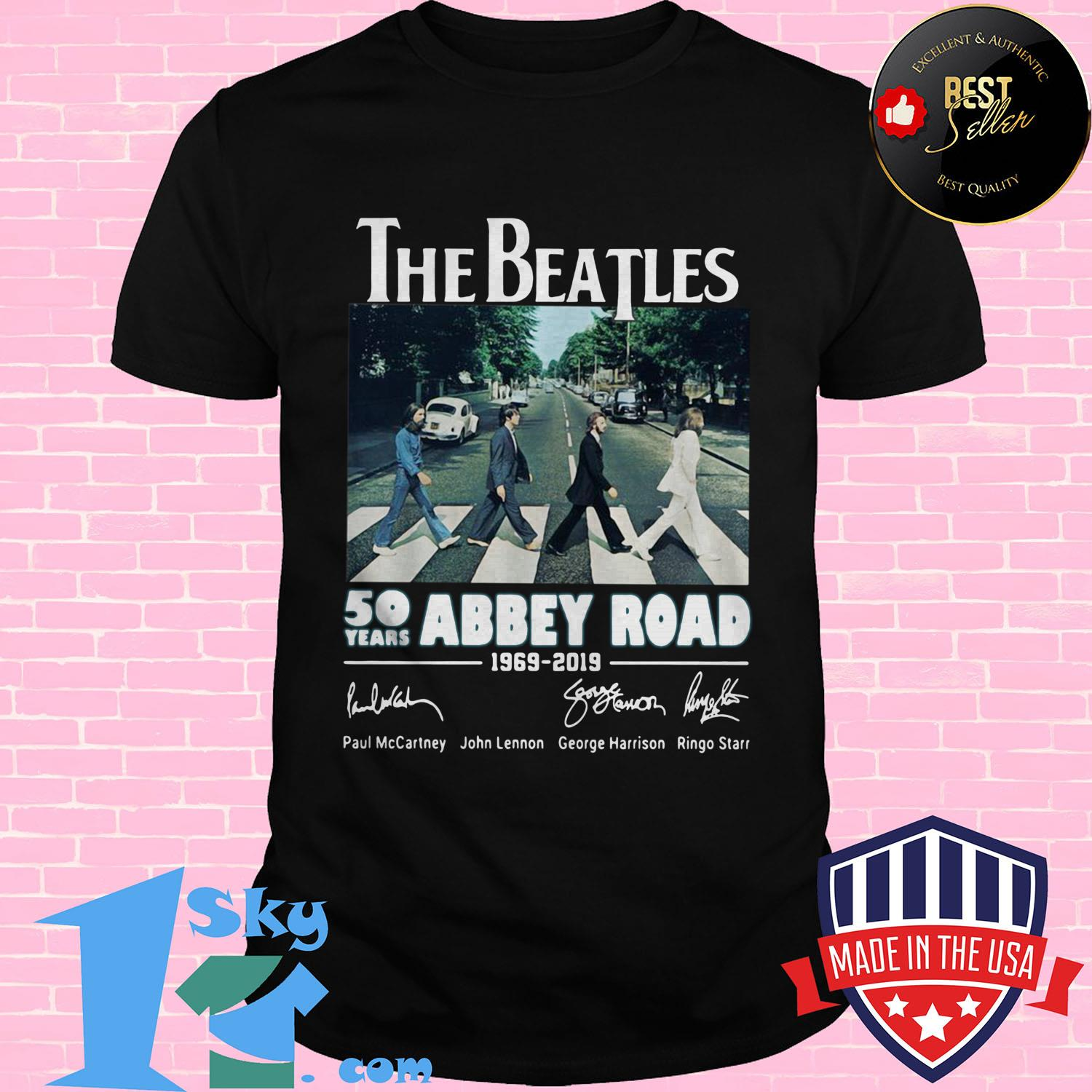 the beatles 50 years abbey road 1969 2019 signature ladies tee - The Beatles 50 years Abbey Road 1969–2019 signature shirt