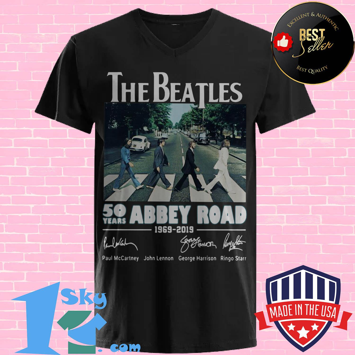 the beatles 50 years abbey road 1969 2019 signature v neck - The Beatles 50 years Abbey Road 1969–2019 signature shirt