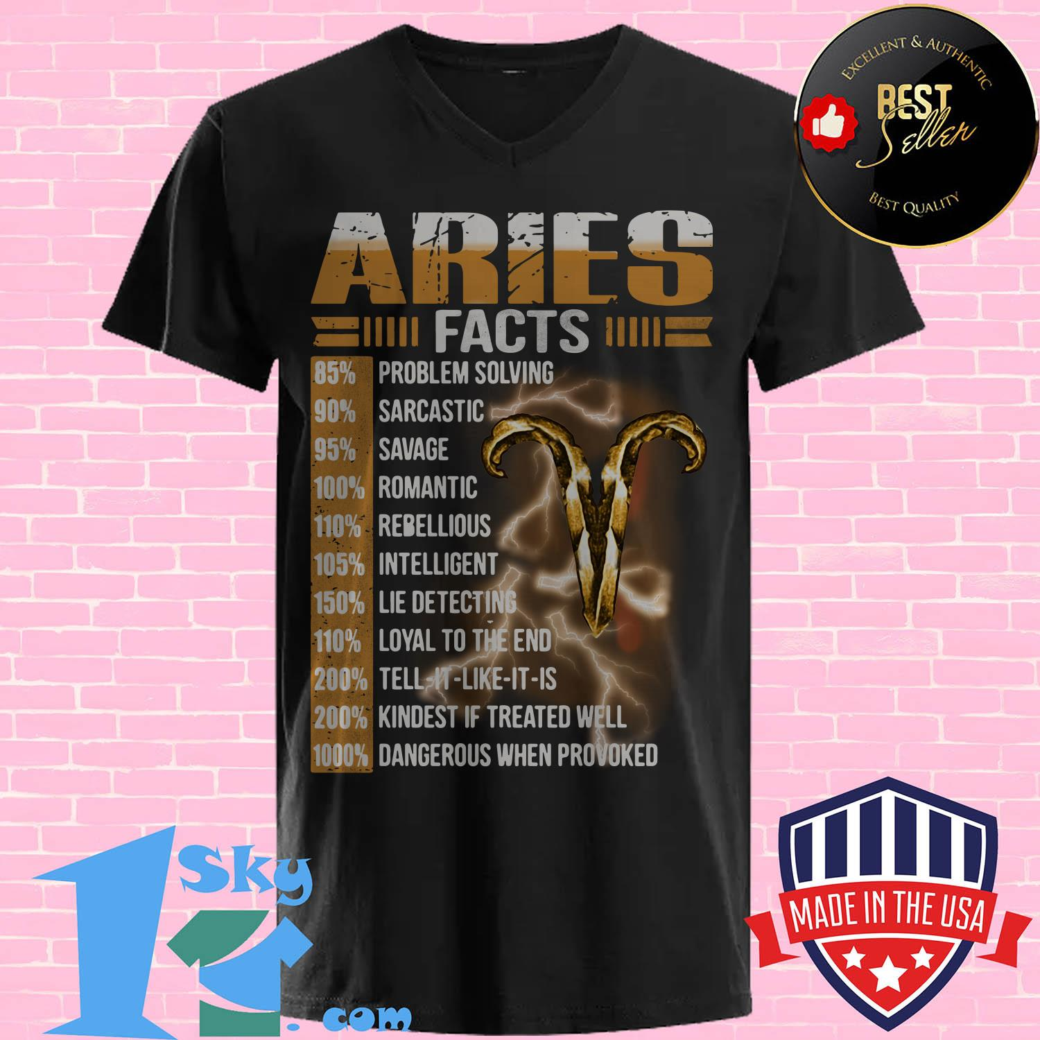 aries facts 85 problem solving 90 sarcastic 95 savage v neck - Aries facts 85% problem solving 90% sarcastic 95% savage shirt