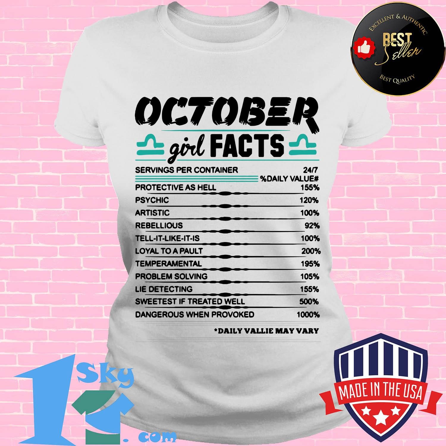 libra october girl facts serving per container protective as hell ladies tee - Libra October girl facts serving per container protective as hell shirt