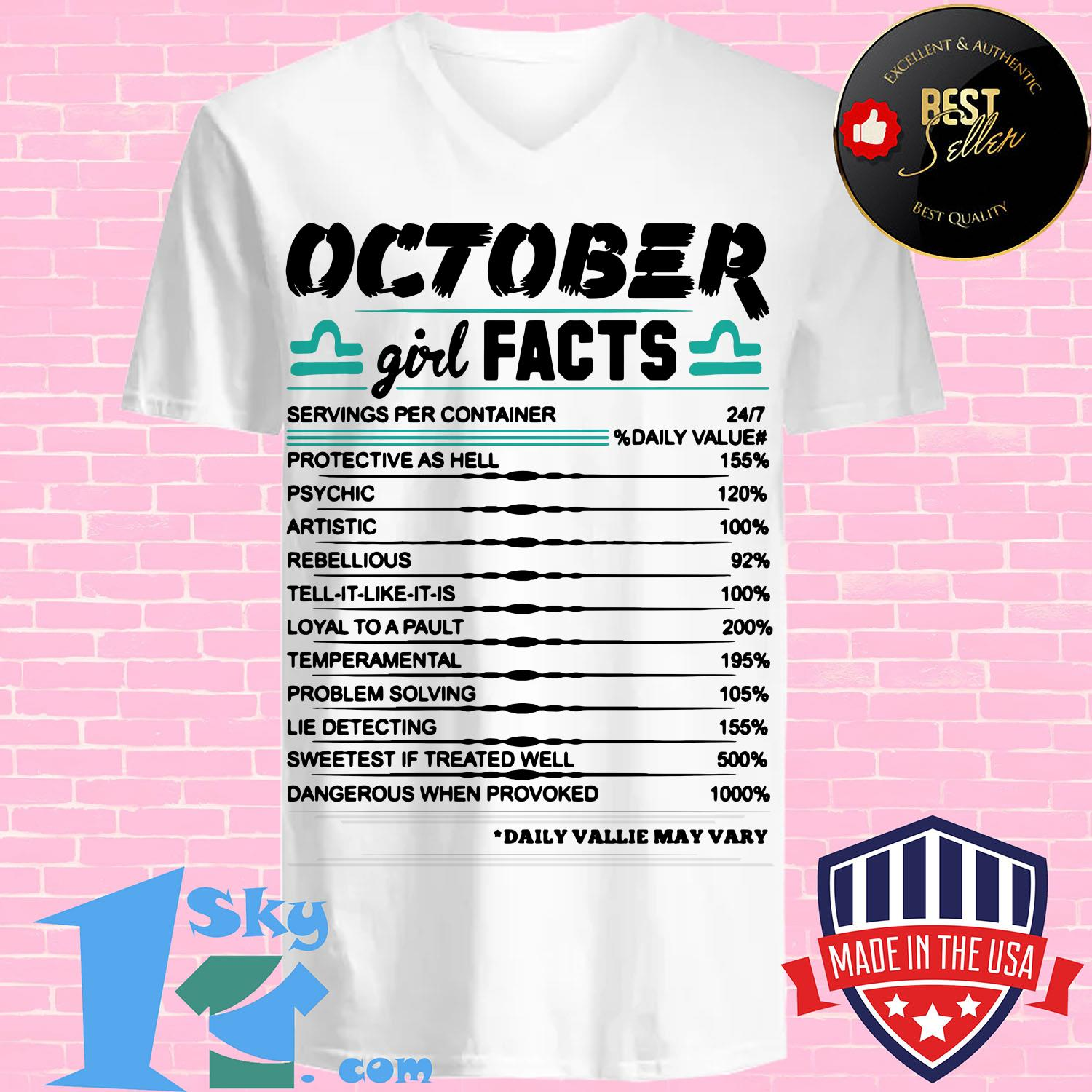 libra october girl facts serving per container protective as hell v neck - Libra October girl facts serving per container protective as hell shirt