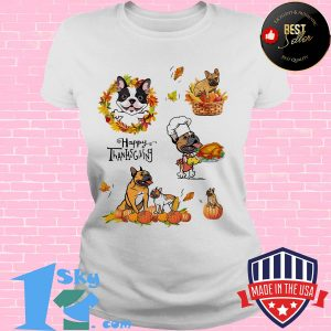Frenchie dog cook happy thanks giving s V-neck