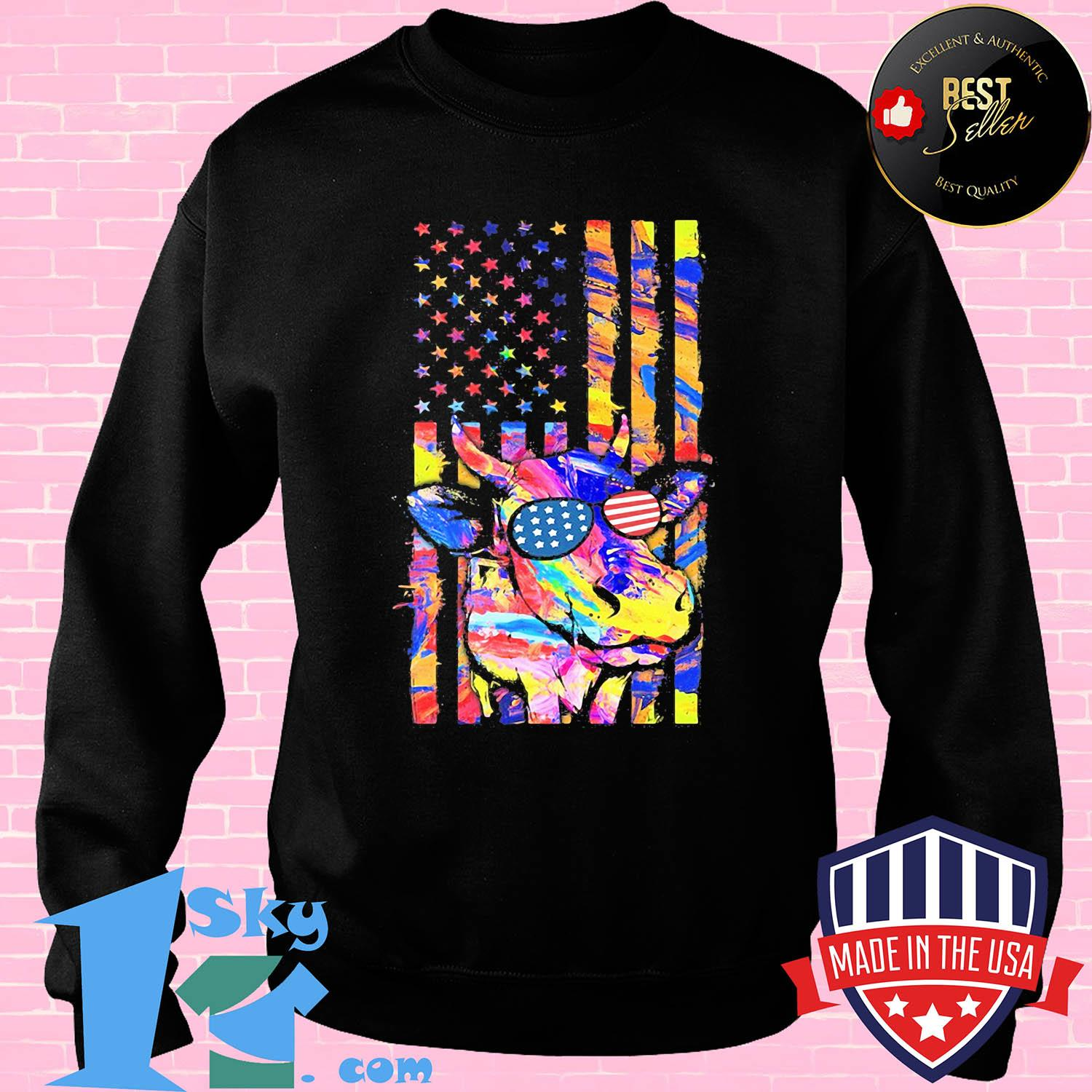 Cow American flag veteran Independence Day shirt