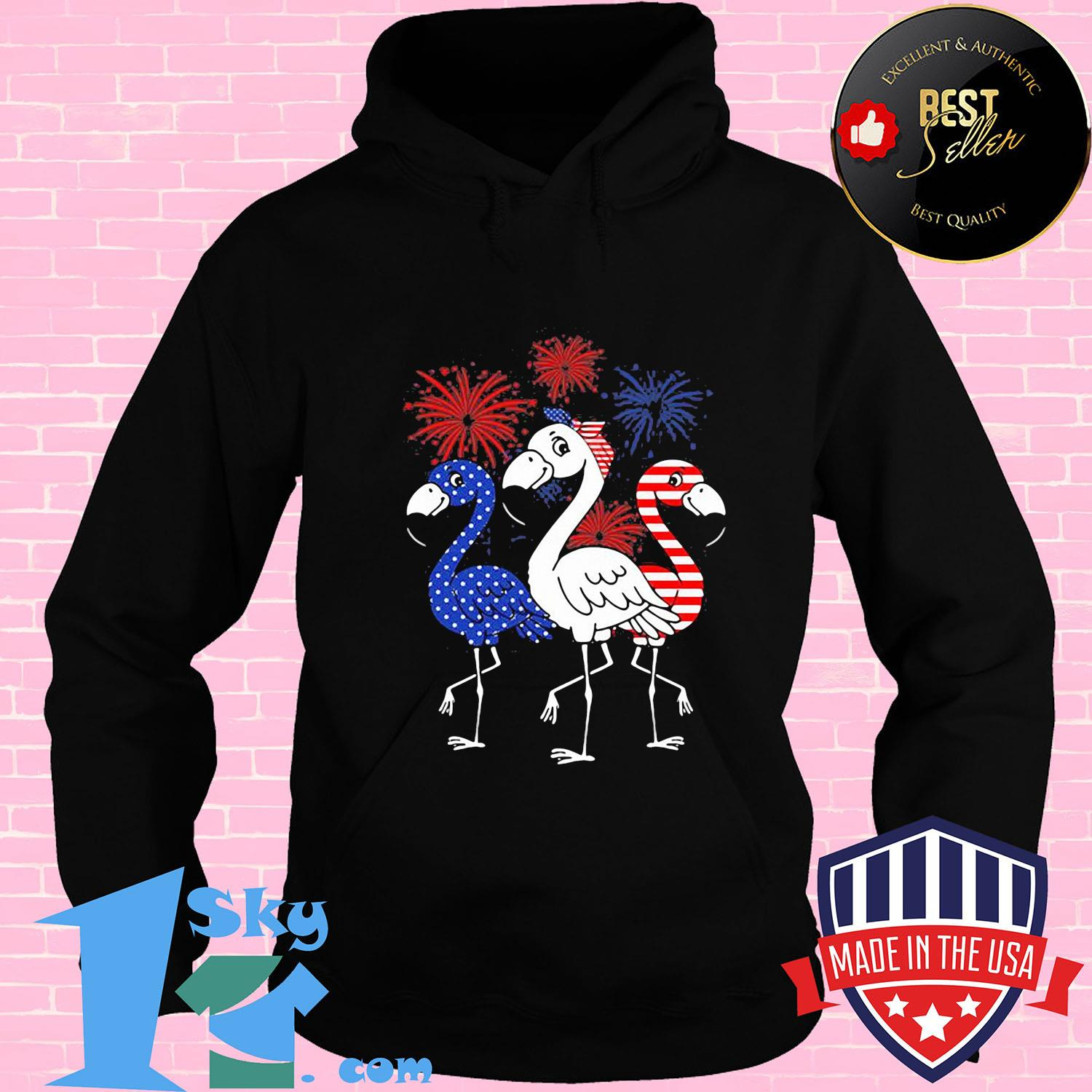 Flamingo American flag veteran Independence Day shirt