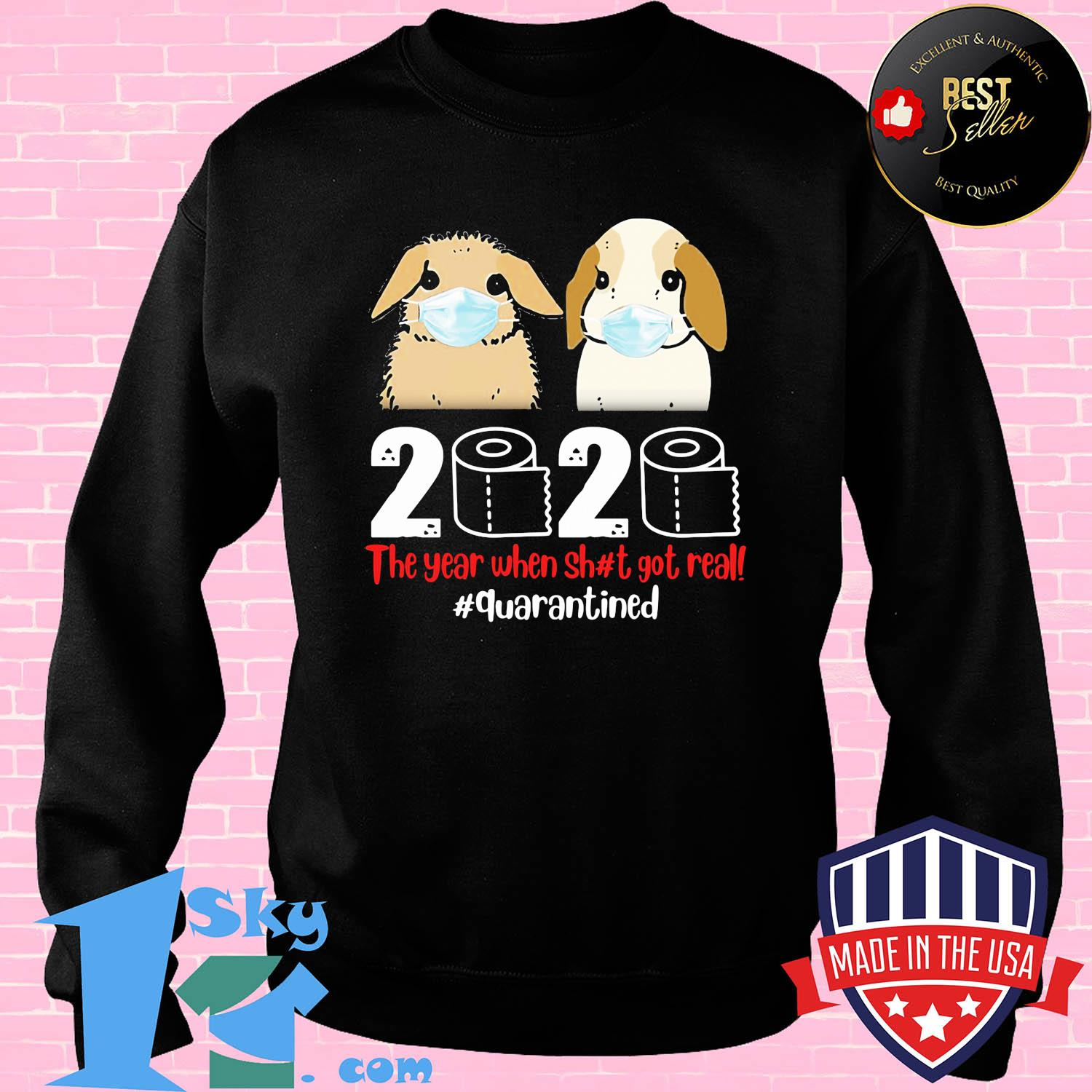 Bunny mask 2020 the year when shit got real quarantines toilet paper shirt