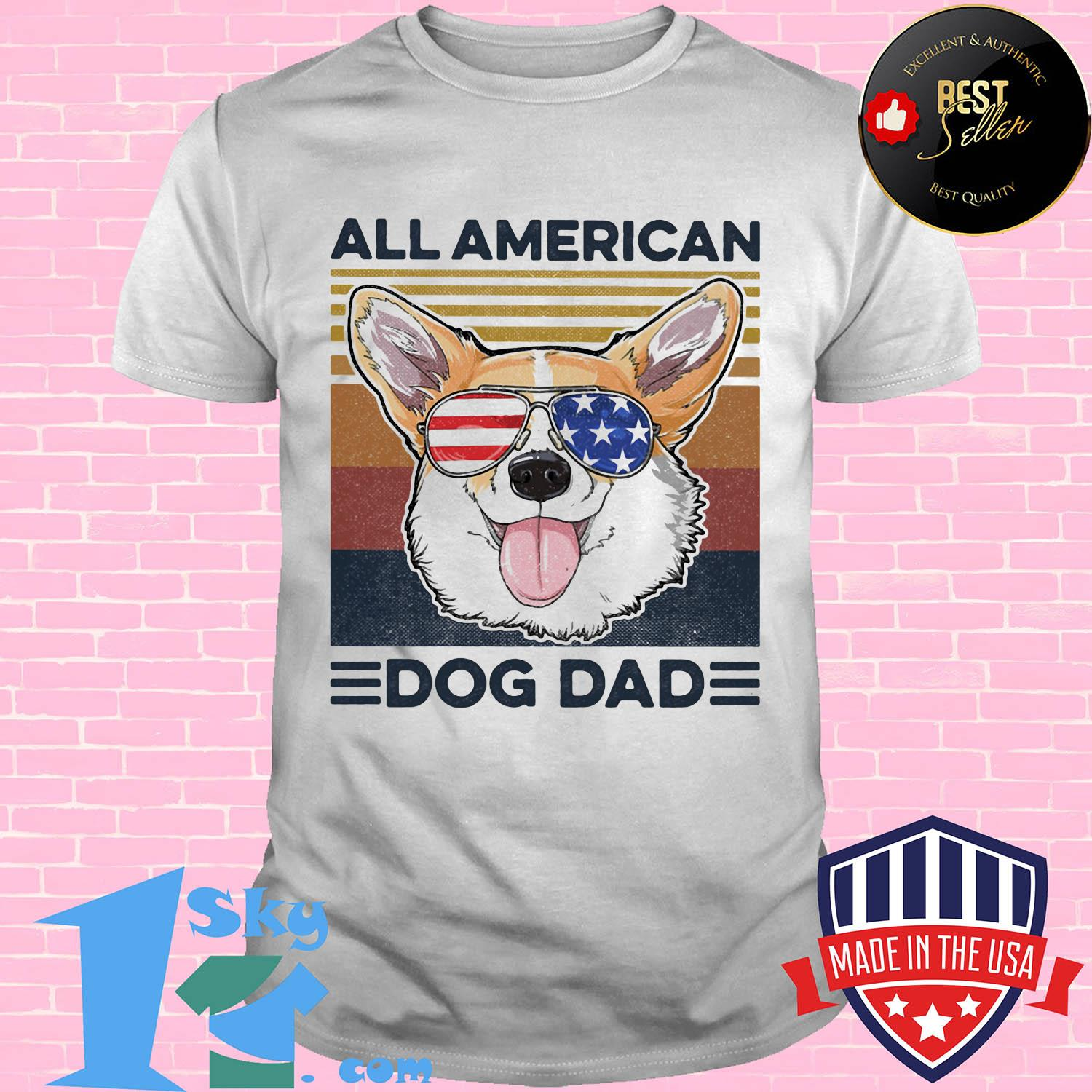 All American dog dad American flag veteran Independence Day vintage shirt