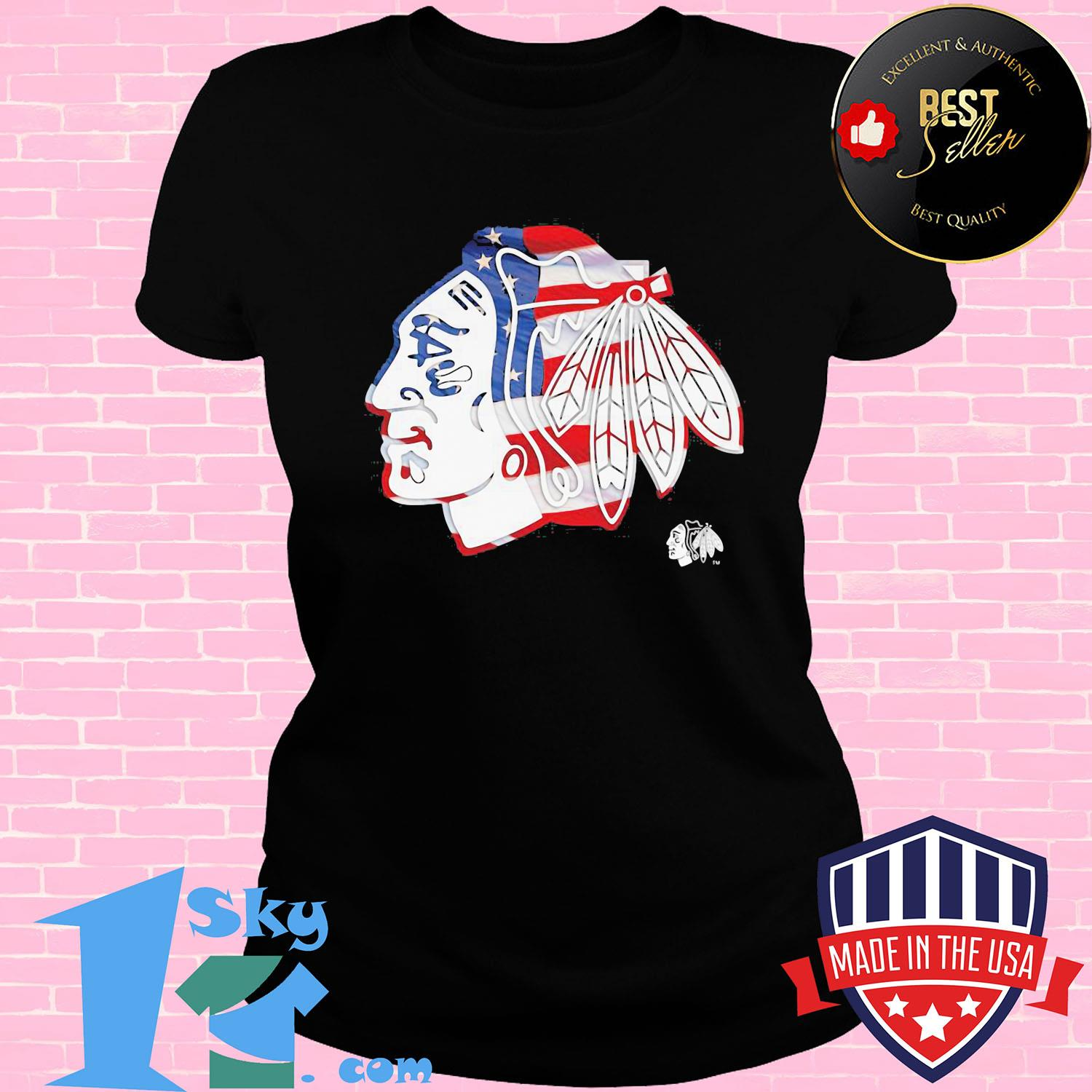 Chicago Blackhawks American flag veteran Independence Day s V-neck