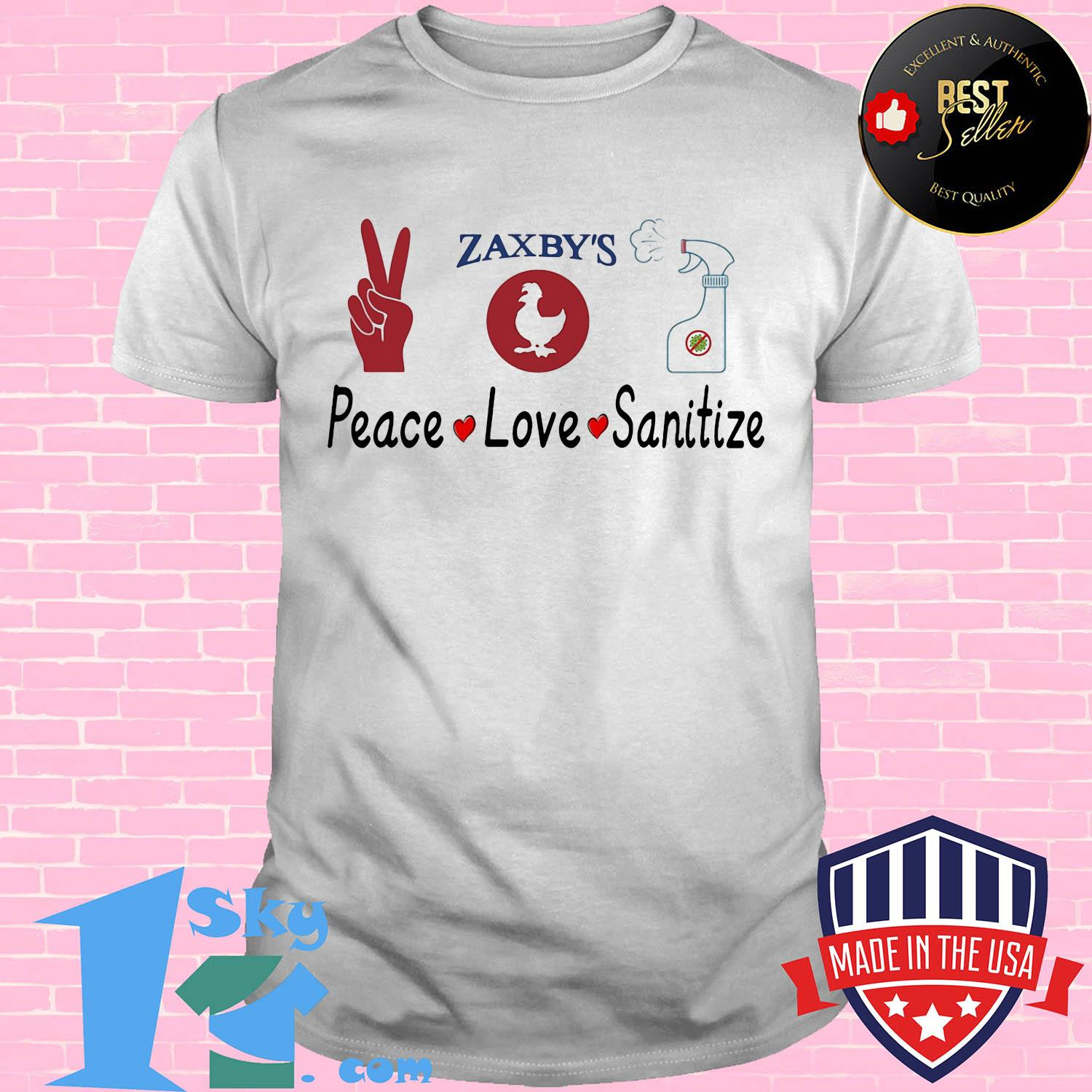 Zaxby's peace love sanitize shirt