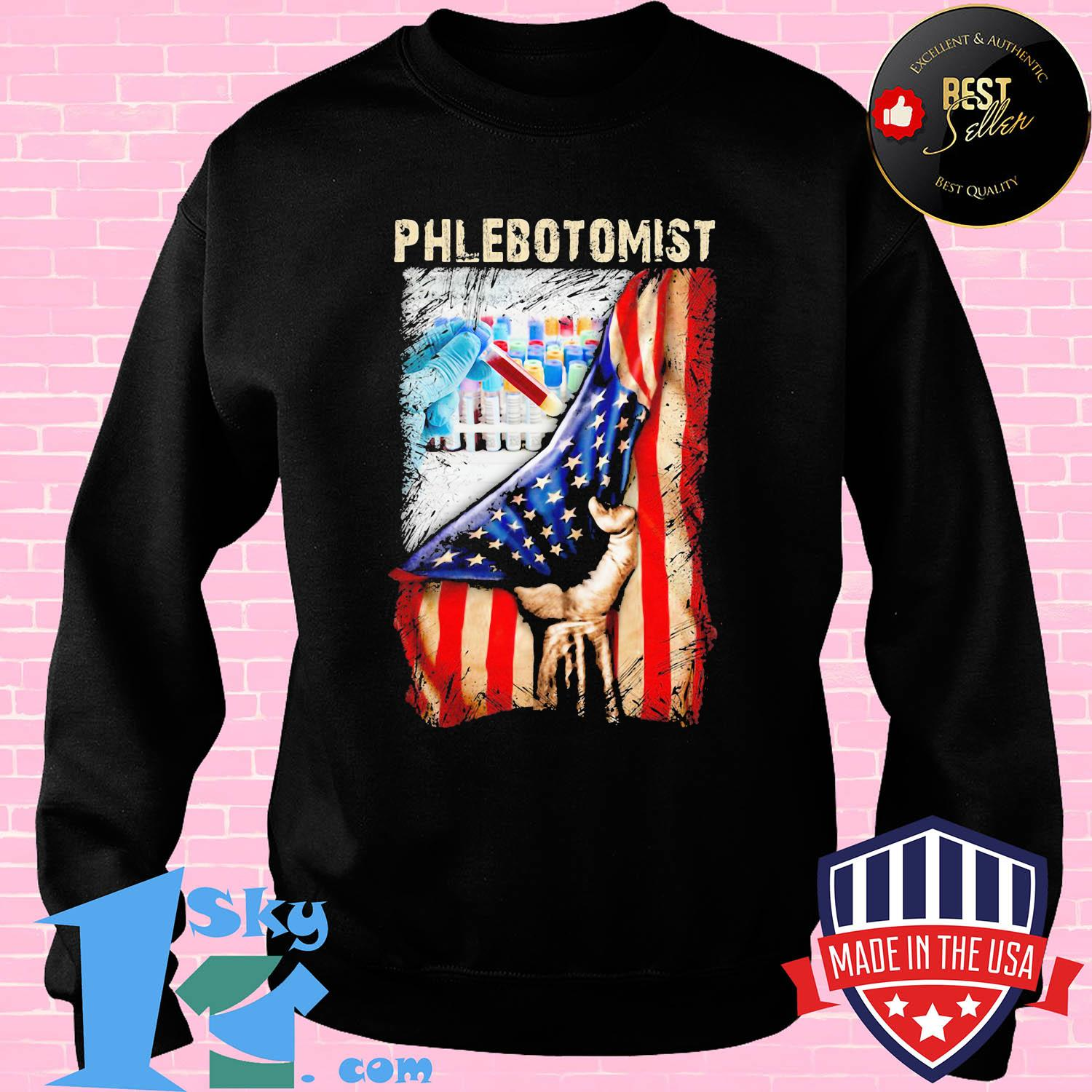 Phlebotomist nurse American flag veteran Independence Day shirt