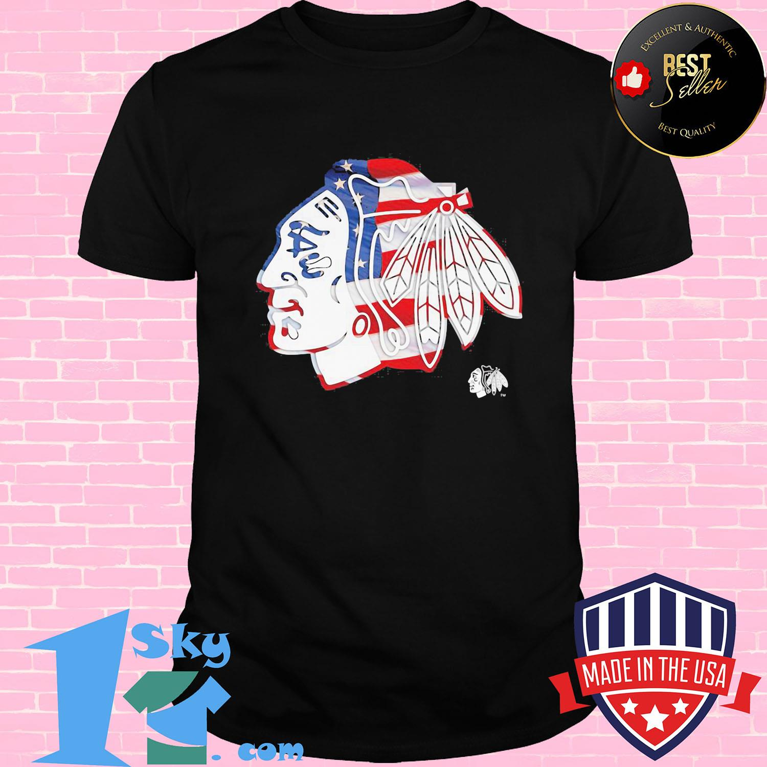 Chicago Blackhawks American flag veteran Independence Day shirt