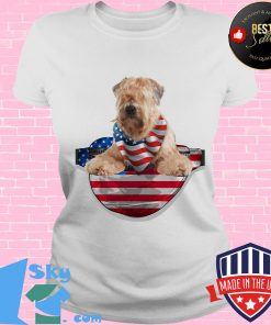 Soft coated wheaten terrier waist pack american flag independence day s V-neck