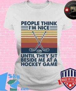People think I'm nice until they sit beside me at a hockey game Vintage retro s V-neck